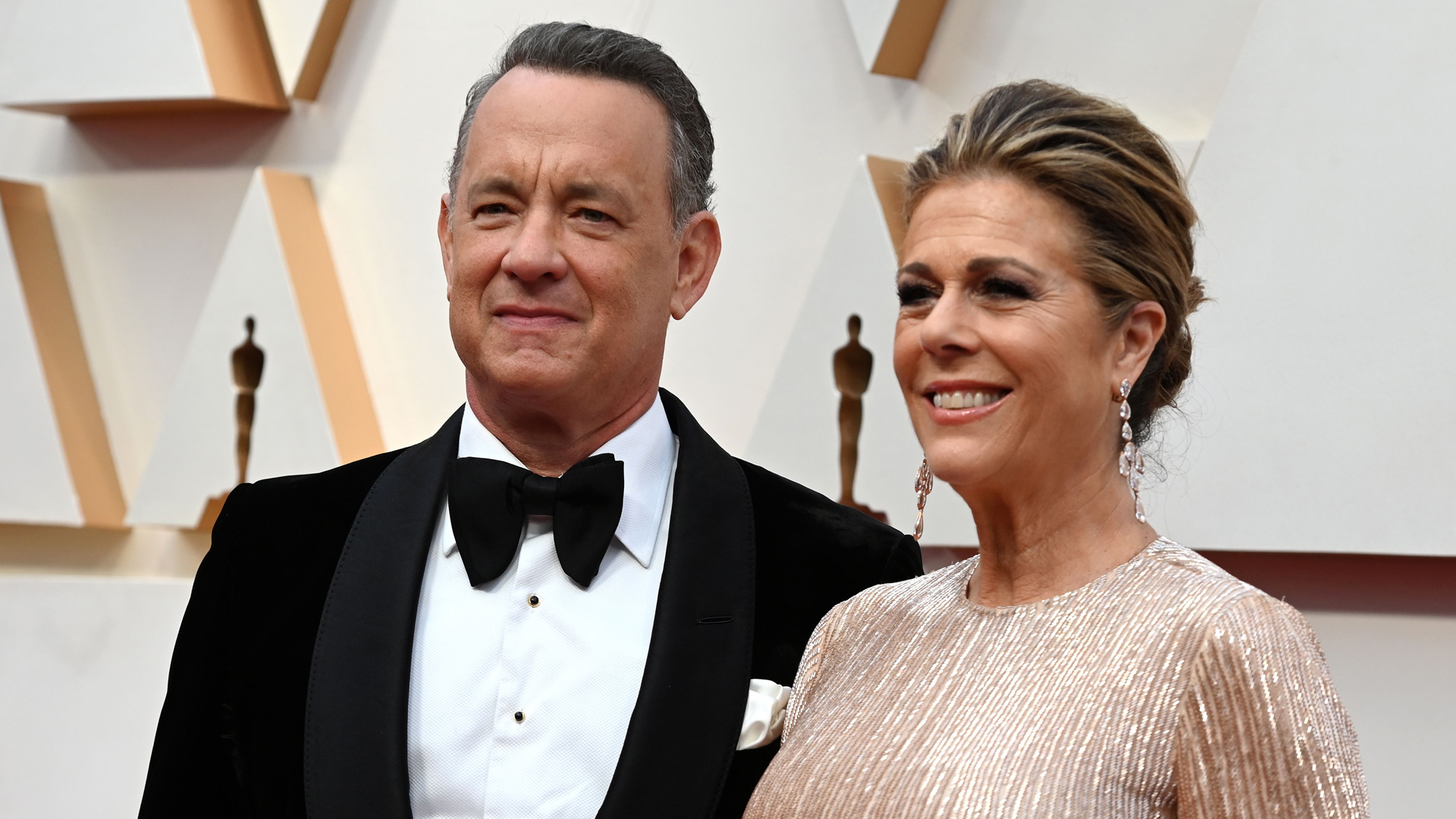 Tom Hanks and Rita Wilson arrive for the 92nd Oscars at the Dolby Theatre in Hollywood, California on Feb. 9, 2020. (ROBYN BECK/AFP via Getty Images)