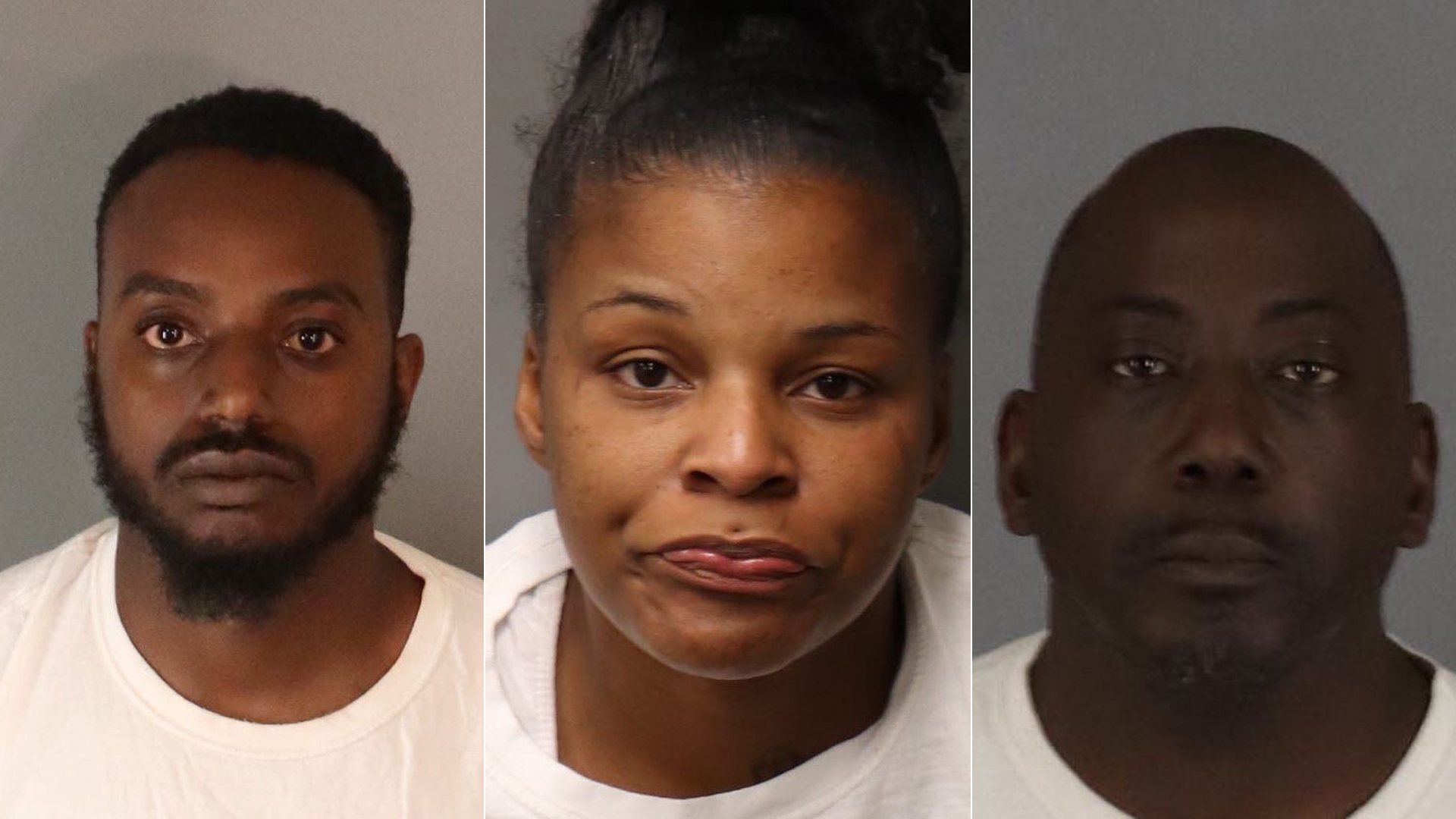Left to right: John Lamont Bush, 30, Marleiya Onshel Barnes, 33, and Roderick Lamar Grandison, 47, pictured in photos provided by the Riverside Police Department following their arrests on March 4, 2020.