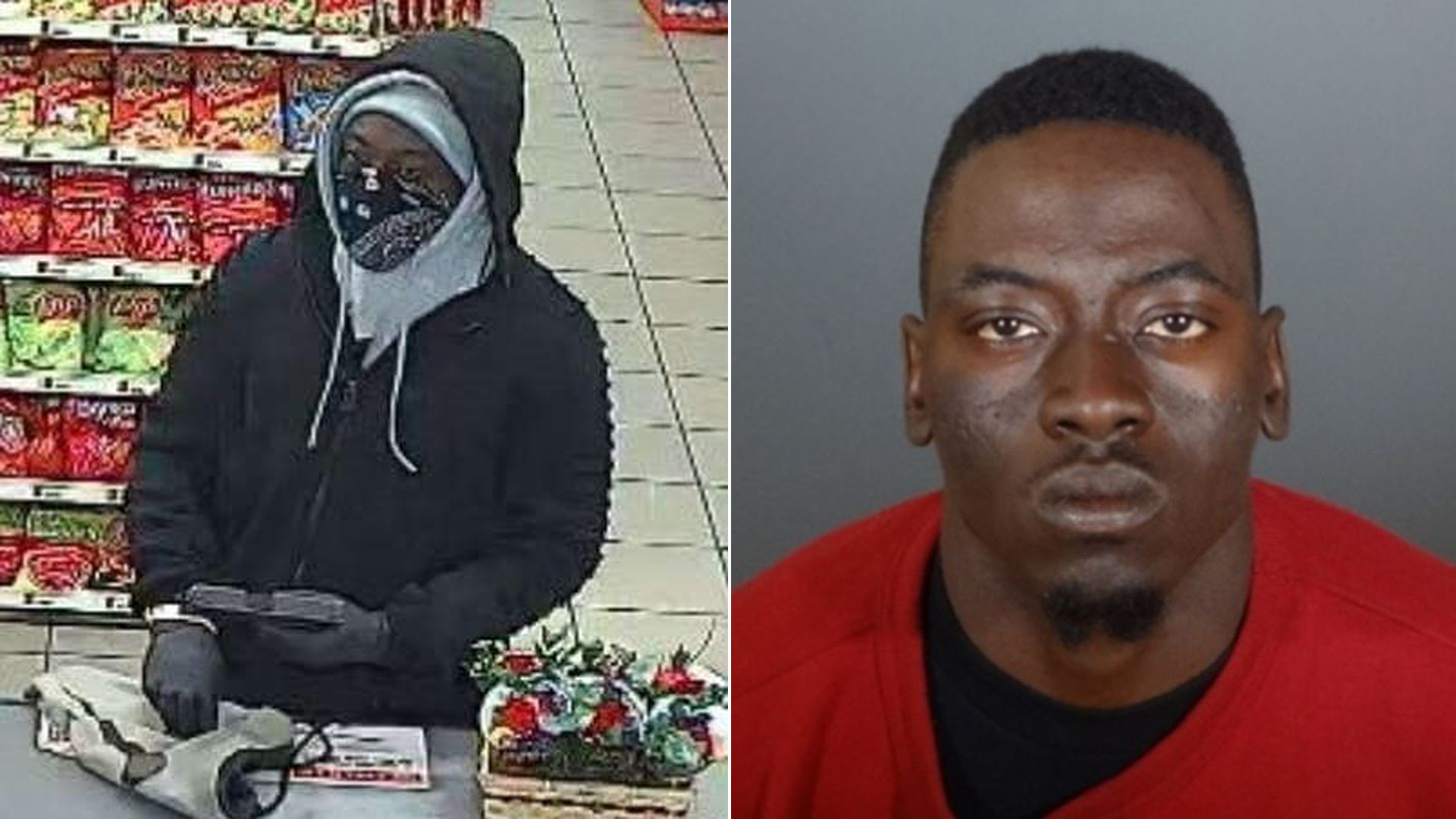 Whittier police released a surveillance still of the suspect, seen left, on Feb. 22, 2020; a booking photo of Kevin Hall, right, was released by police on March 10, 2020.