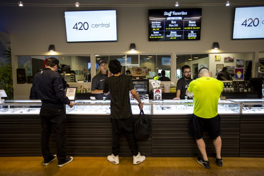 Cannabis retailers, deemed essential by the state, have been allowed to stay open during California's COVID-19 lockdown.(Kent Nishimura / Los Angeles Times)