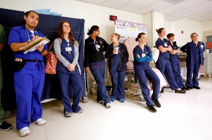 Nursing students and instructors await a shift change in the intensive care unit at UCLA Medical Center in Santa Monica in 2014.(Mel Melcon / Los Angeles Times)