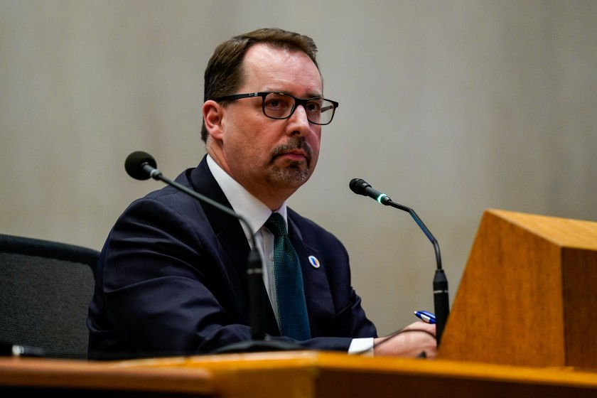 Los Angeles County chief elections official Dean Logan appears at an L.A. County Board of Supervisors meeting on March 10, 2020. (Credit: Kent Nishimura / Los Angeles Times)