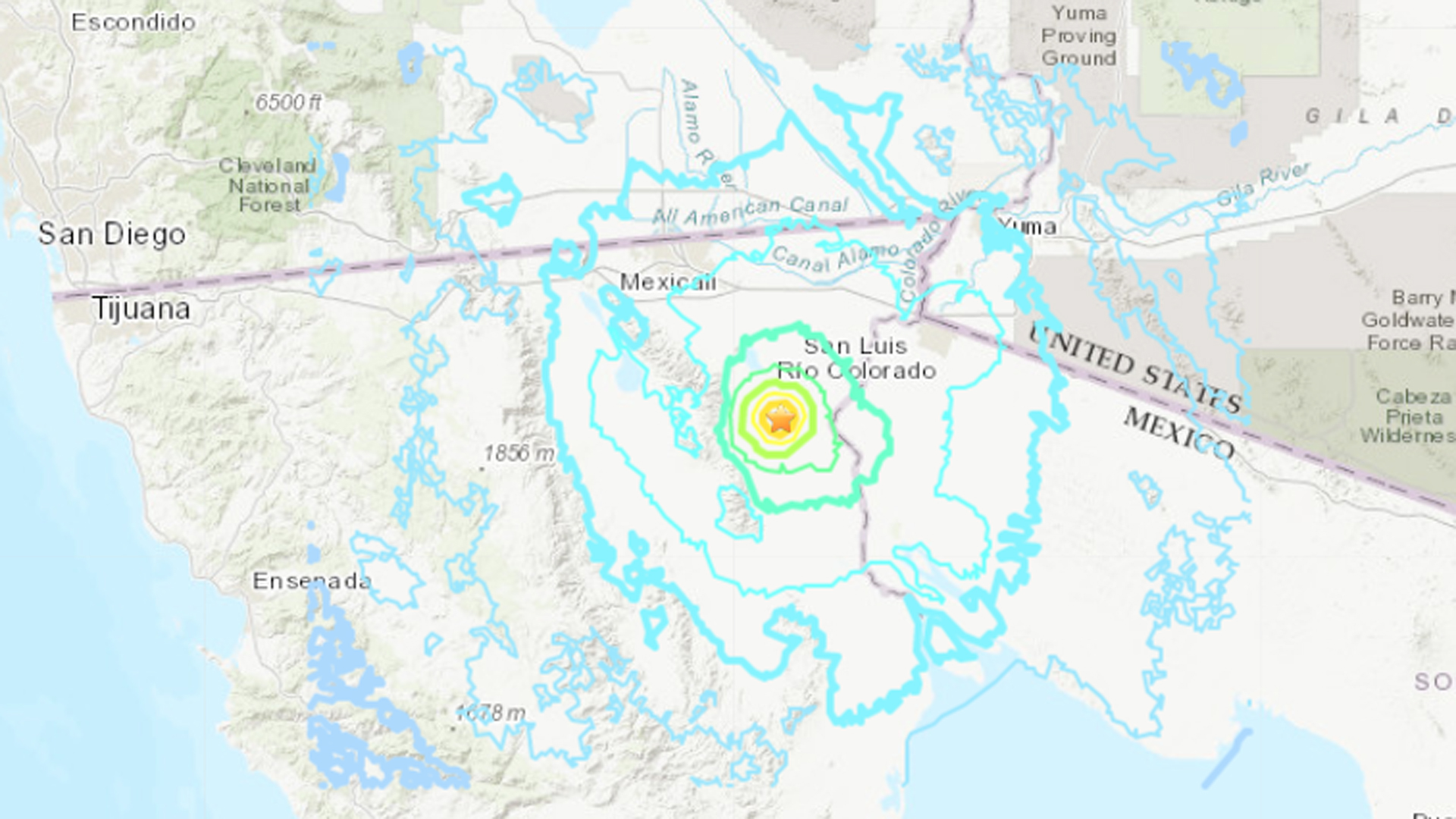 A 5.6 magnitude earthquake that hit northern Baja California on March 6, 2020, is seen in a map provided by the U.S. Geological Survey.