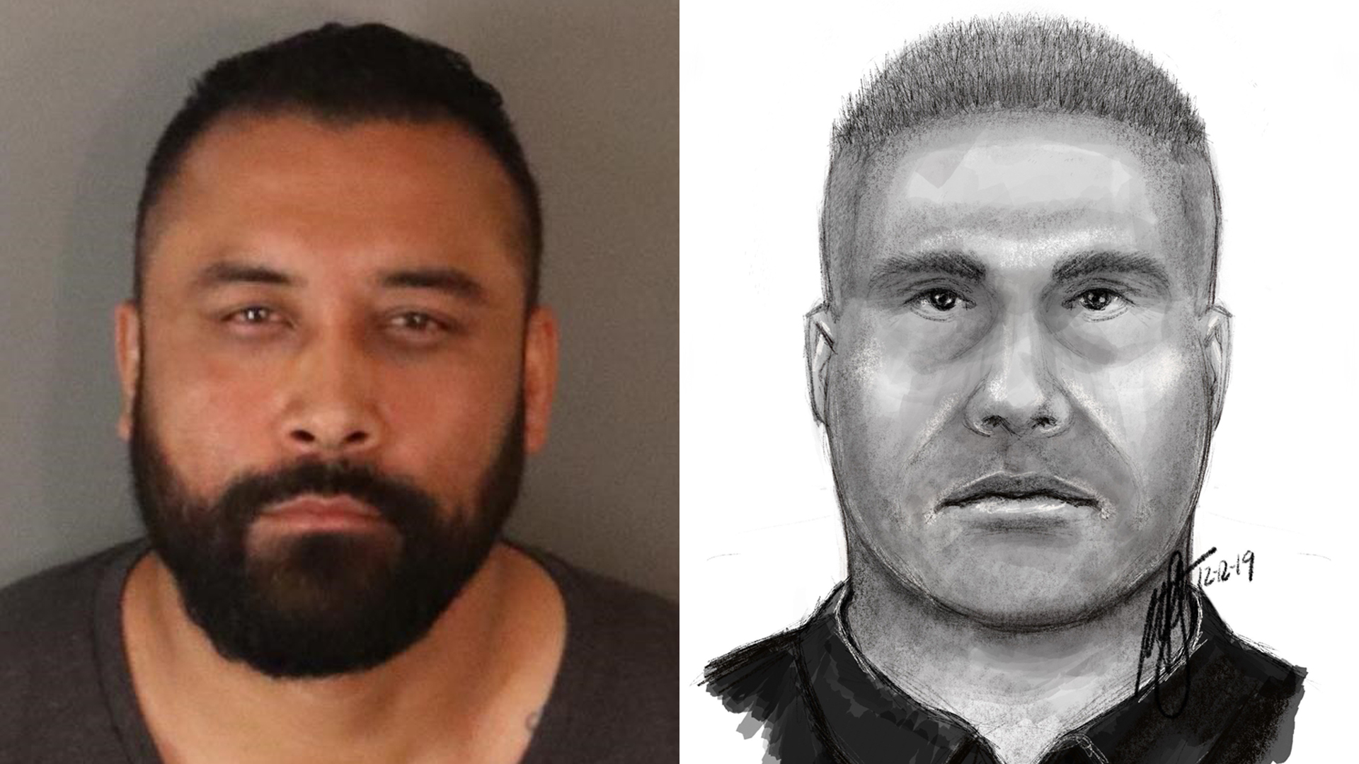 At left, Jose Ivan Rodriguez is seen in a booking photo released March 12, 2020, by the Riverside Police Department. At right, a composite sketch the department released on Dec. 12, 2019, shows a man wanted in a sexual assault.