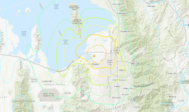 A magnitude 5.7 earthquake struck near Salt Lake City, Utah, on March 18, 2020. (USGS)
