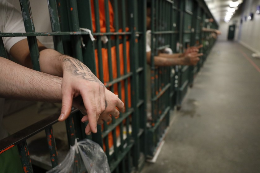 Inmates are seen at a Los Angeles County jail in this undated photo. (Al Seib / Los Angeles Times)