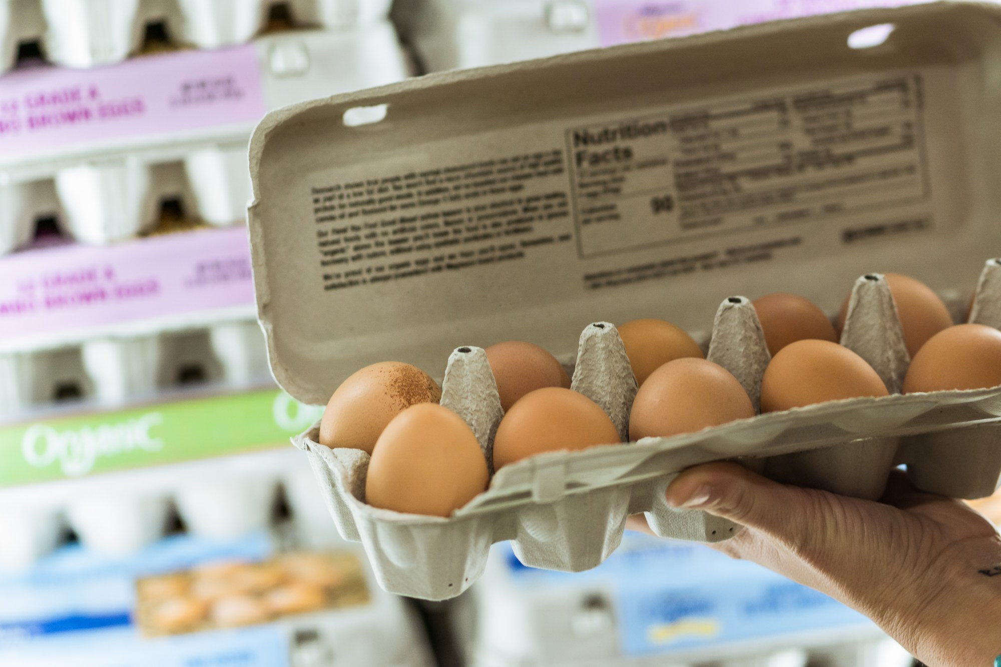 A woman holds up a carton of eggs at a grocery store in this file photo. (Getty Images)