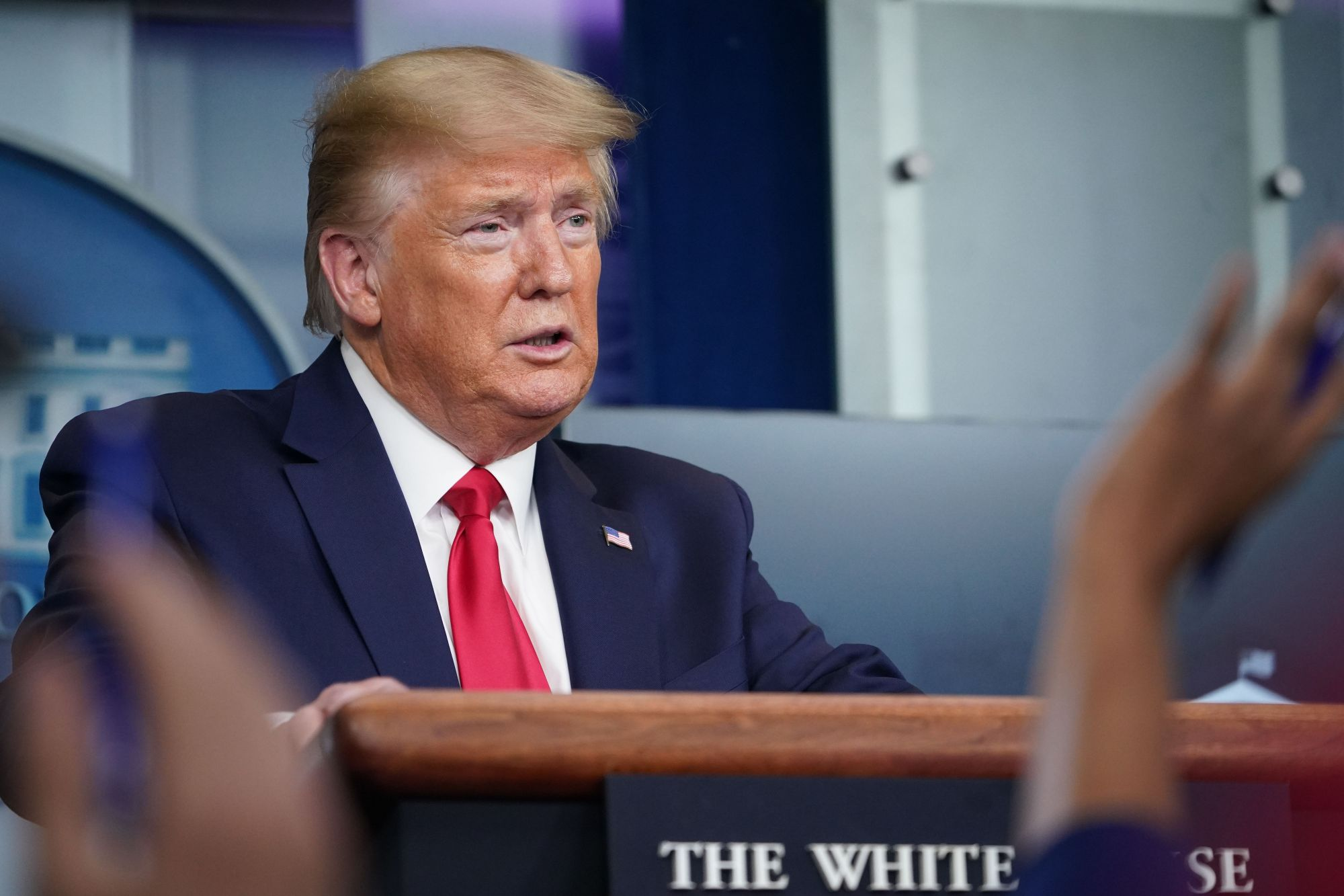 President Donald Trump answers questions from reporters during the daily briefing on the novel coronavirus, COVID-19, in the Brady Briefing Room at the White House on April 8, 2020. (MANDEL NGAN/AFP via Getty Images)