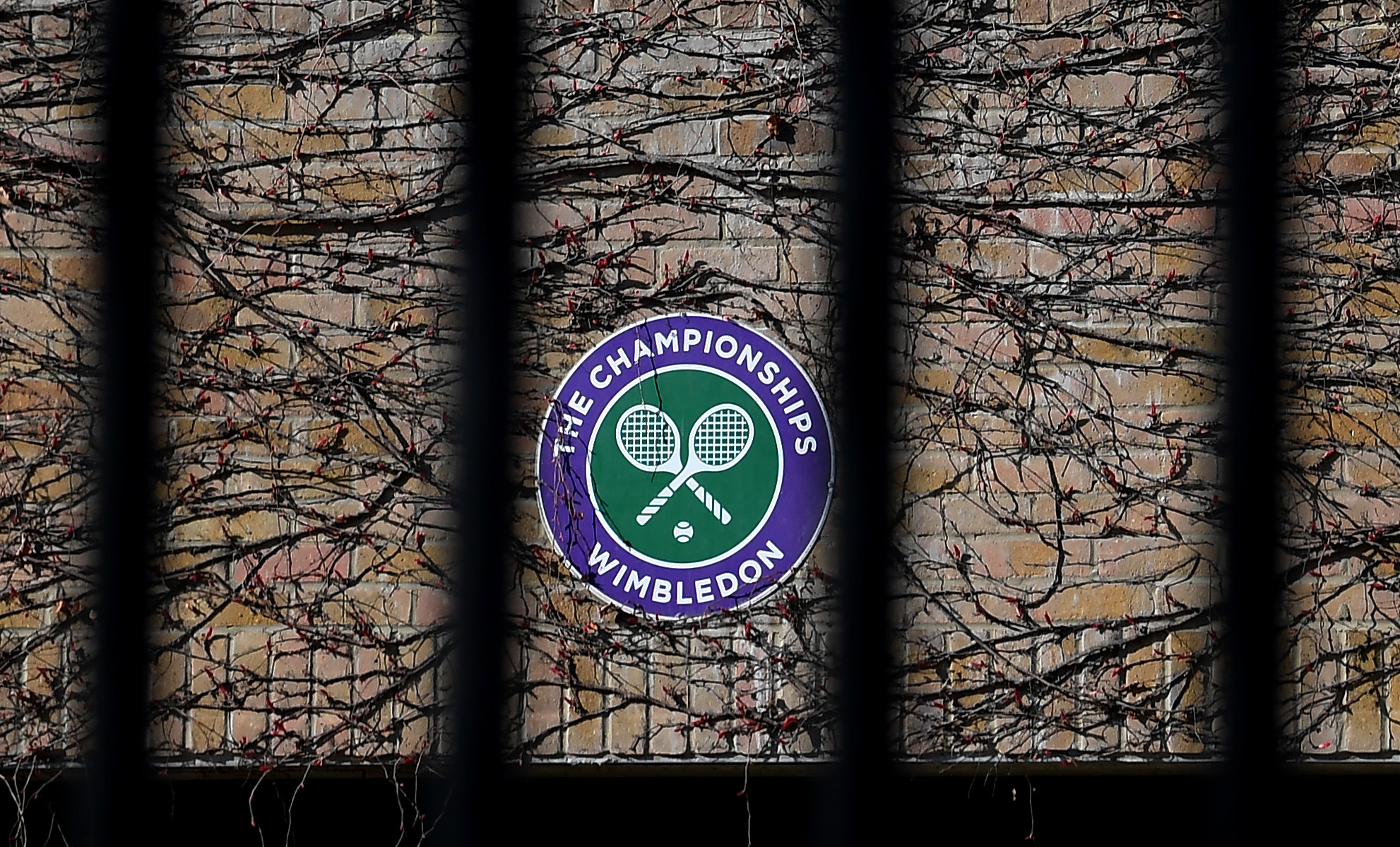 Wimbledon branding is seen at The All England Tennis and Croquet Club, best known as the venue for the Wimbledon Tennis Championships, on April 1, 2020 in London, England. (Alex Davidson/Getty Images)