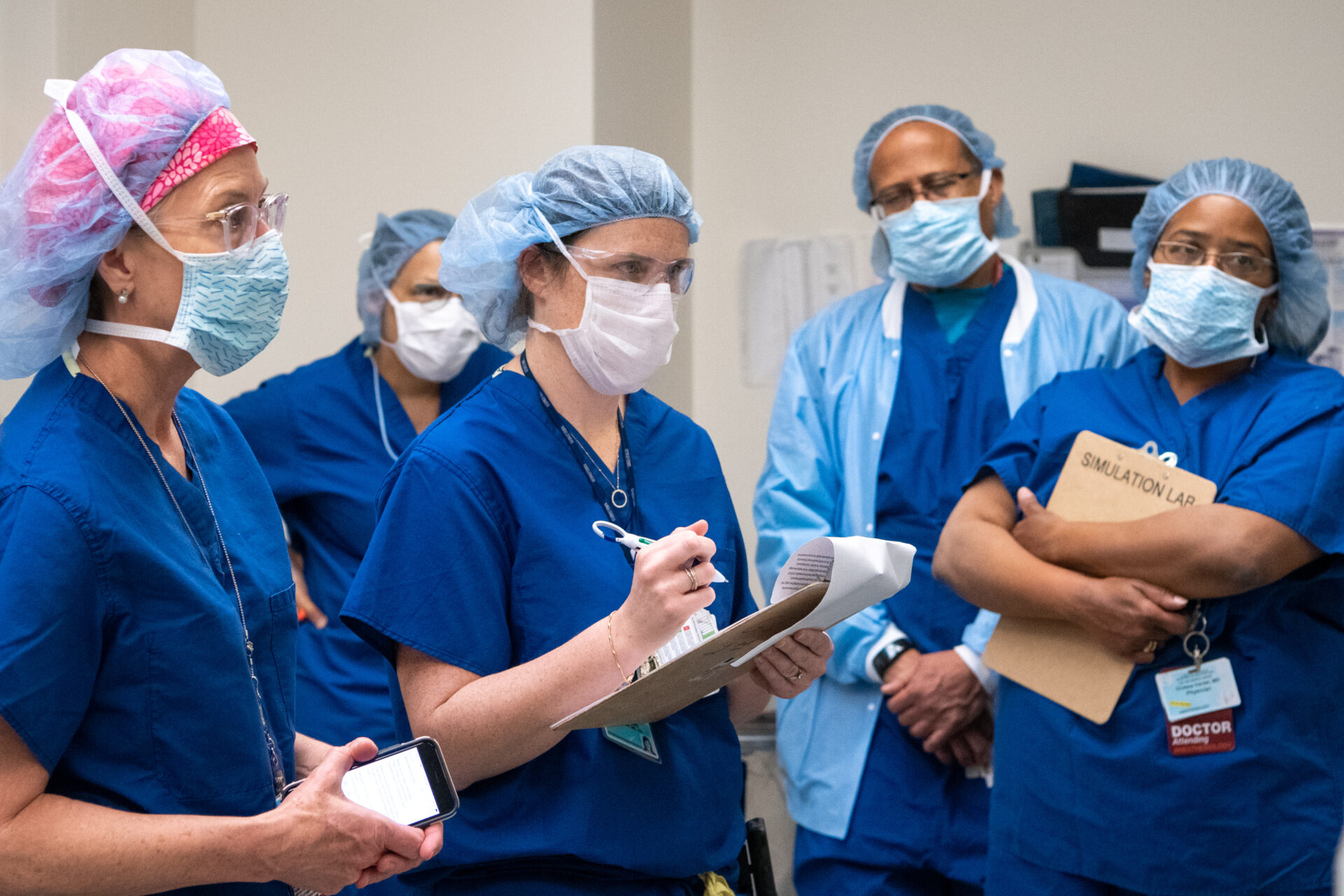 L.A. County health care workers preparing for an influx of COVID-19 patients in a simulation drill at LAC+USC Medical Center on April 3, 2020. (Los Angeles County)