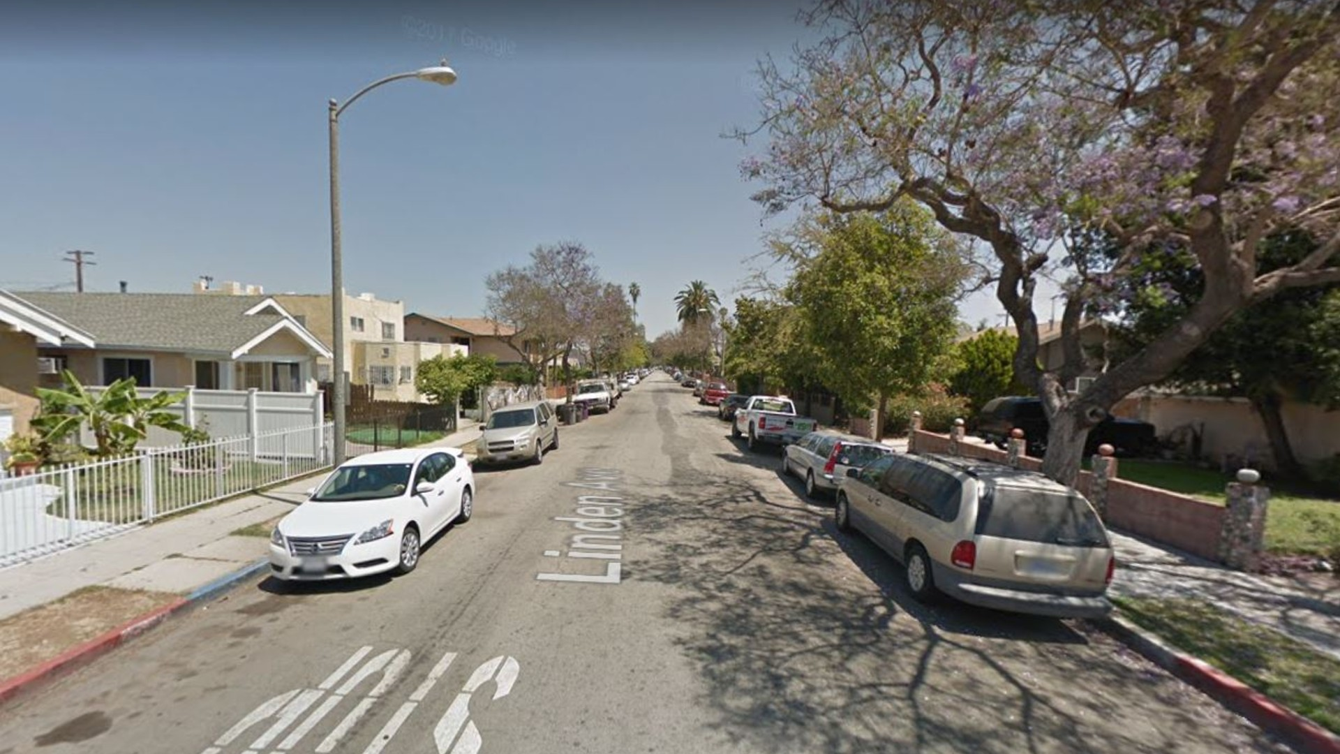 The 2000 block of Linden Avenue in Long Beach, as viewed in a Google Street View image.