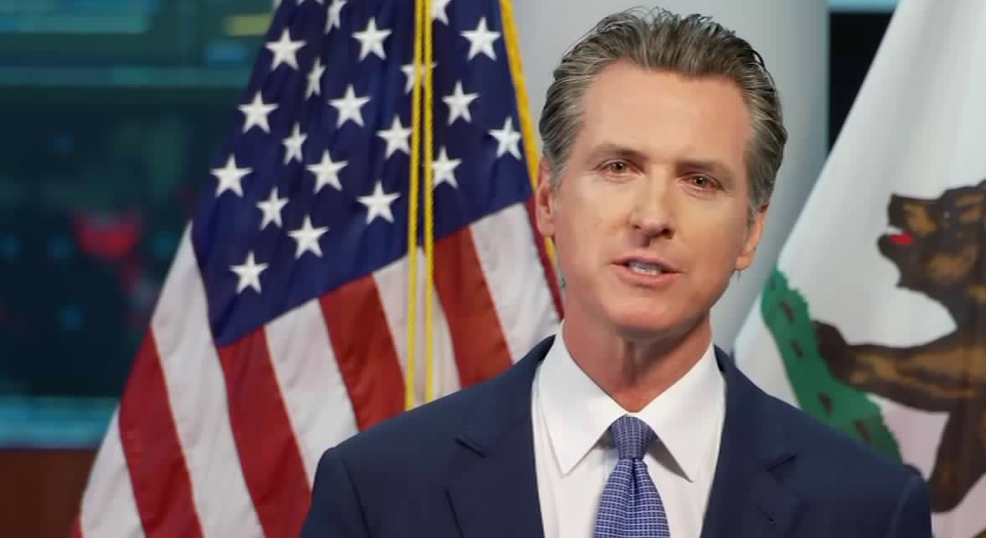 California Gov. Gavin Newsom addresses the COVID-19 outbreak in the state during a livestream on April 1, 2020.