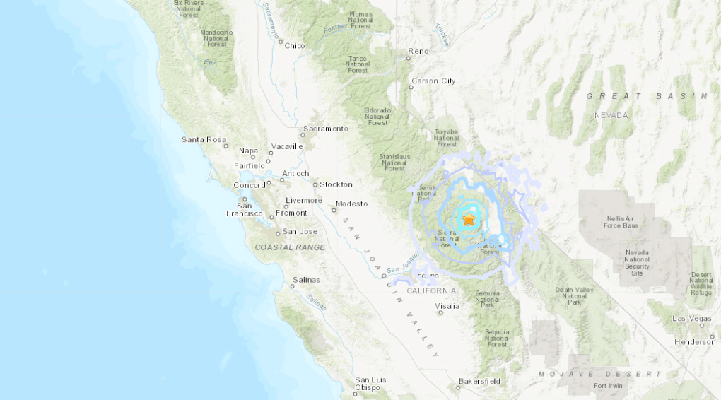 The location of a magnitude 4.4 earthquake that rattled the Sierra Nevada Mountains on April 5, 2020. (USGS)