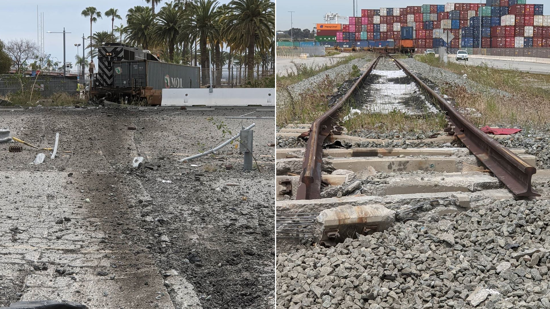 The scene of an allegedly intentional train derailment at the Port of Los Angeles, near where the USNS Mercy is docked, is seen on March 31, 2020. (Credit: @pjreynolds505 / Instagram)