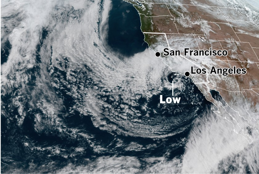 A satellite image shows a tightly wound, slow-moving cutoff low sporting an eye-like feature spinning off the the Southern California coast at 2:30 p.m. on April 8, 2020. (Credit: Cooperative Institute for Research in the Atmosphere & Los Angeles Times)