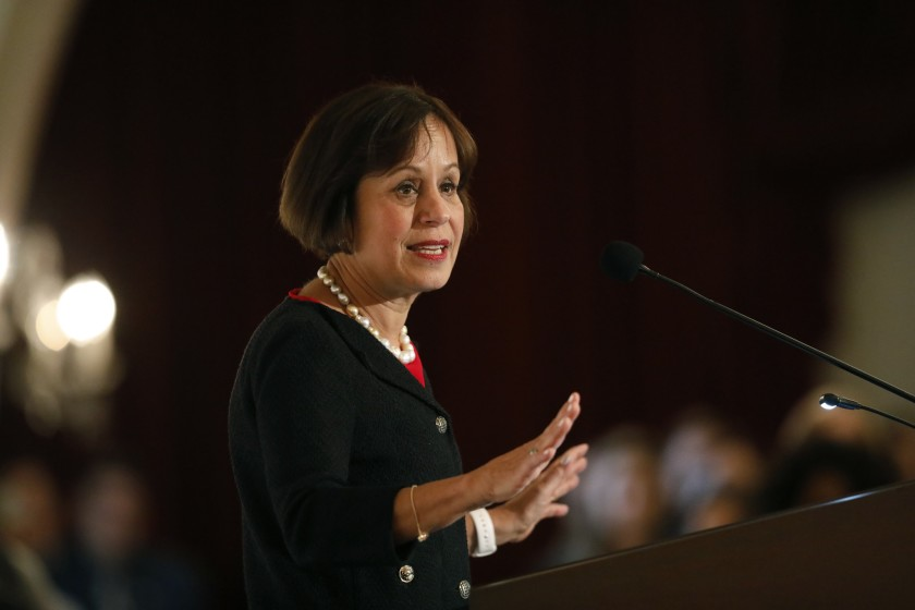 Carol Folt, the University of Southern California's 12th president, at a press conference held at Town and Gown at the University Park Campus in Los Angeles, on March 20, 2019.(Al Seib / Los Angeles Times)