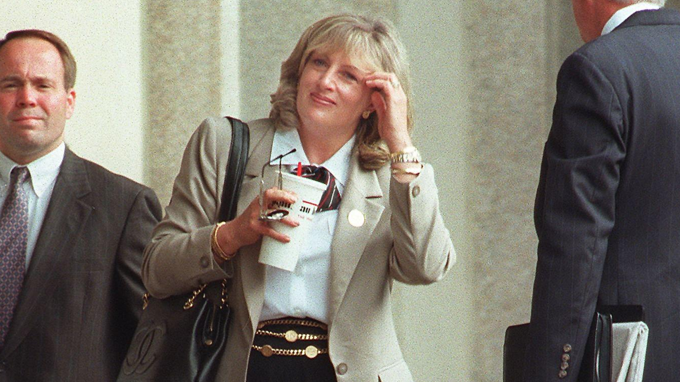 Linda Tripp, who secretly taped conversations with former White House intern Monica Lewinsky, arrives July 9, 1998, at the U.S. District Courthouse in Washington, DC. (Credit: TIM SLOAN / AFP / Getty Images)