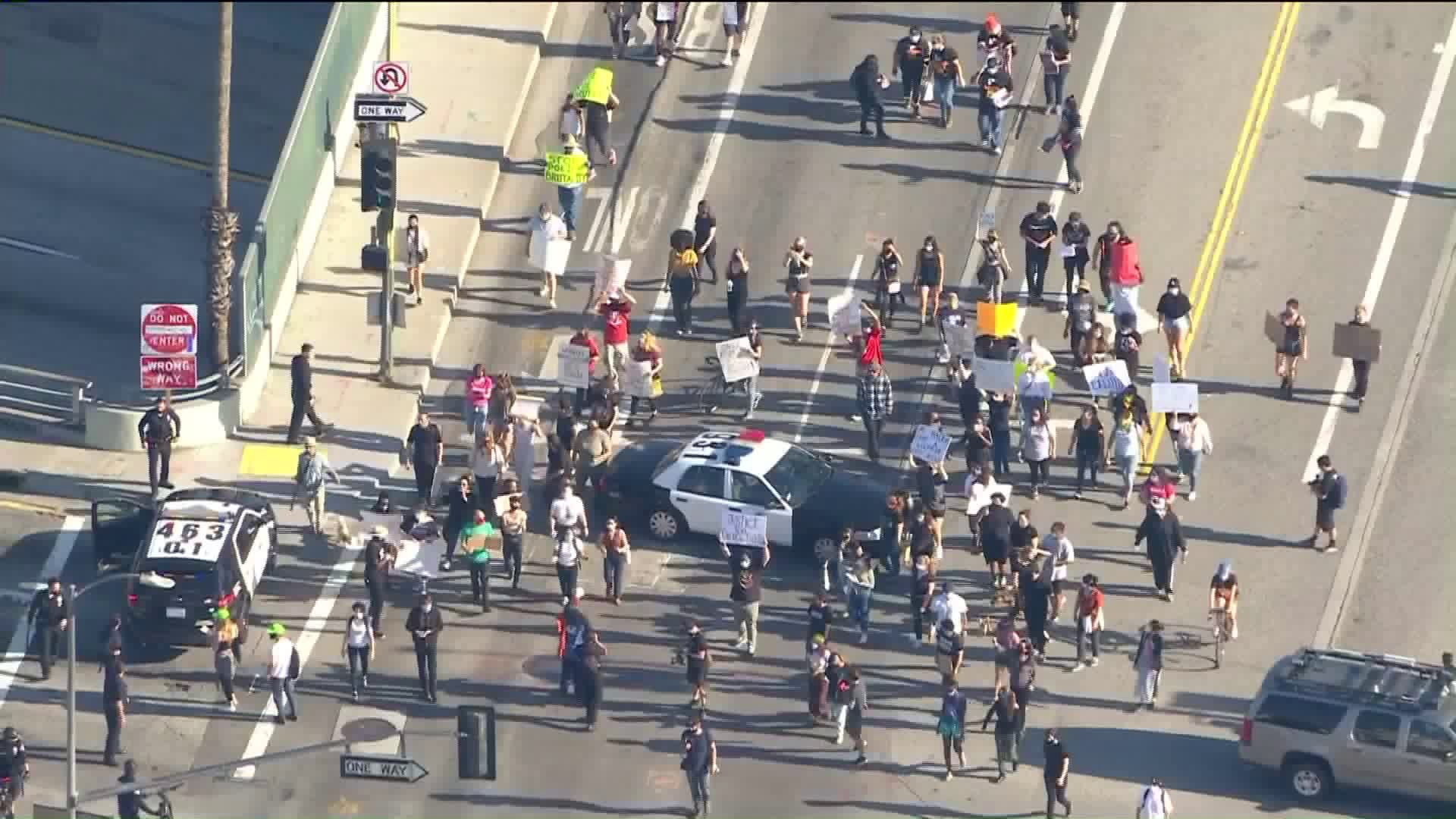 Demonstrators with Black Lives Matter were protesting in Los Angeles on May 27, 2020. (KTLA)