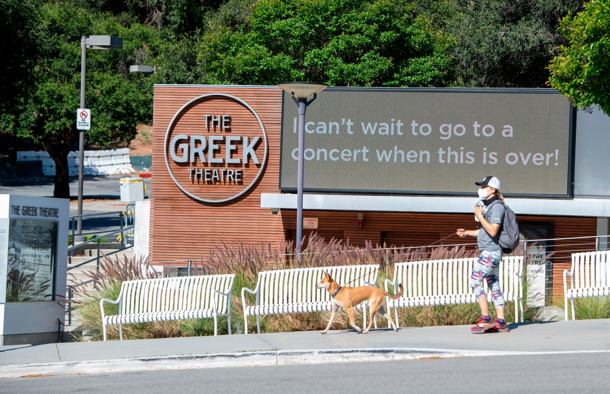 View of the Greek Theater closed, amid the coronavirus pandemic on May 14, 2020, in Hollywood, California. (VALERIE MACON/AFP via Getty Images)