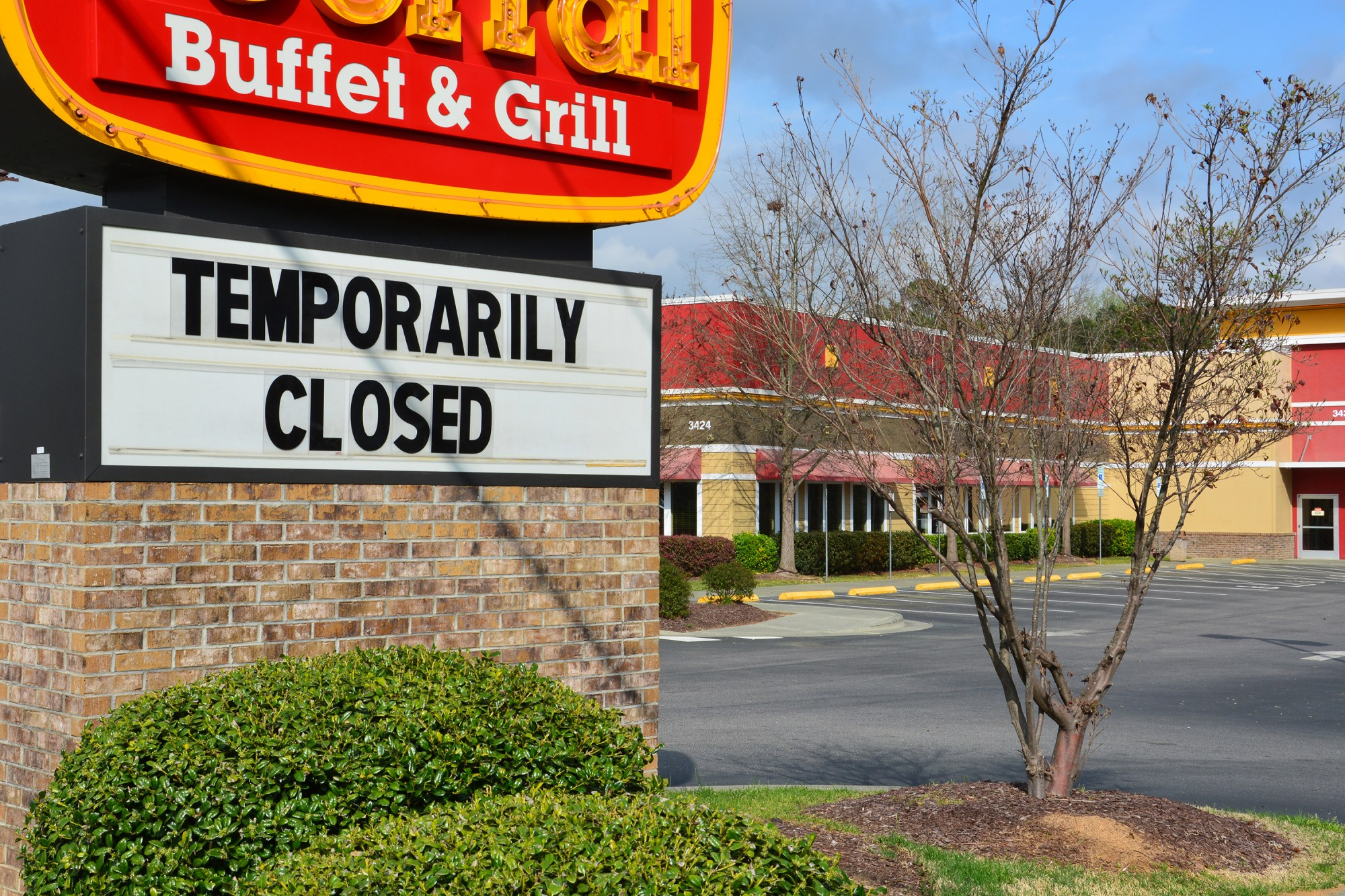 A closed Golden Corral restaurant in Raleigh, North Carolina, on March 21, 2020.