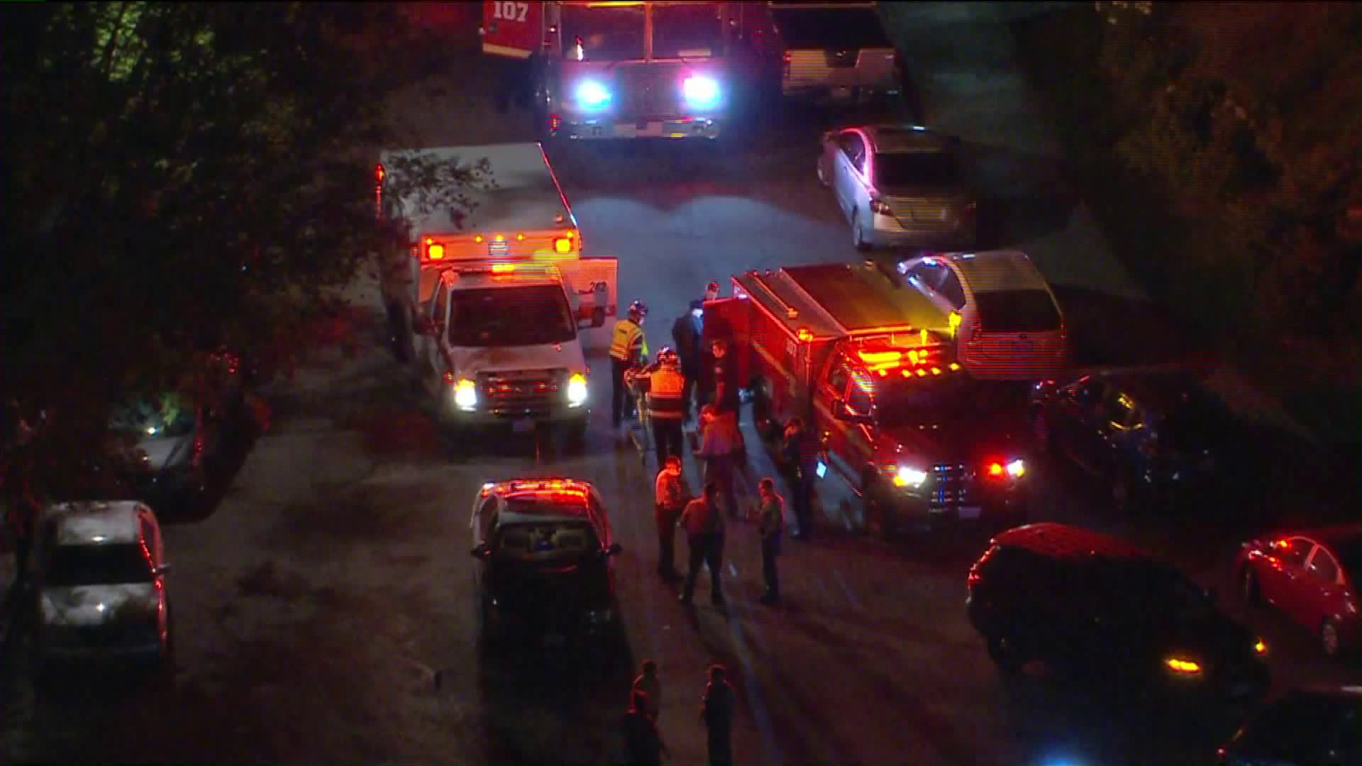 Authorities investigate the scene in Santa Clarita where a Los Angeles County Sheriff's Department deputy was injured in a hit-and-run on June 11, 2020. (KTLA)