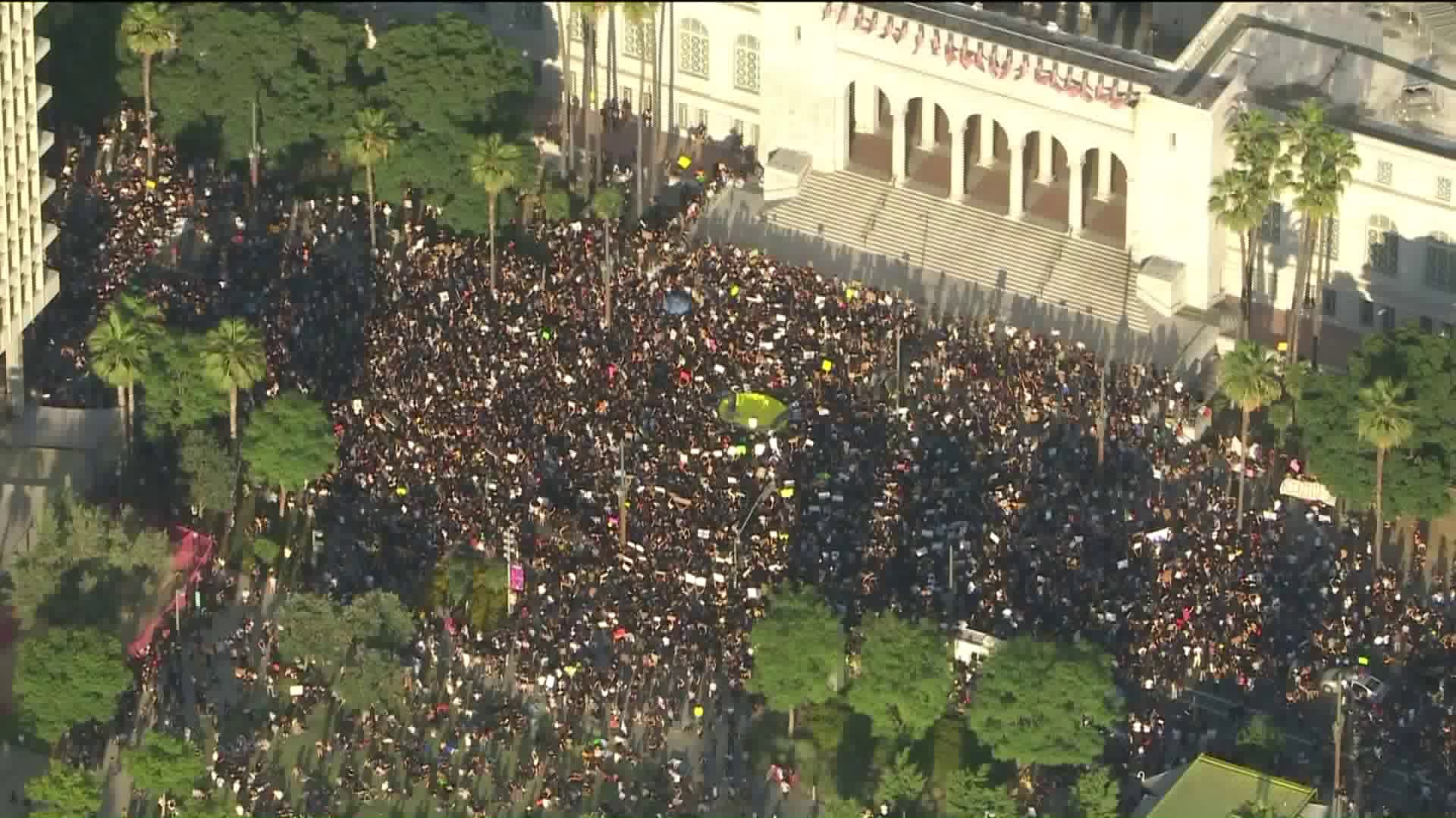 Thousands of demonstrators decrying the death of George Floyd gather in downtown Los Angeles on June 3, 2020. (KTLA)