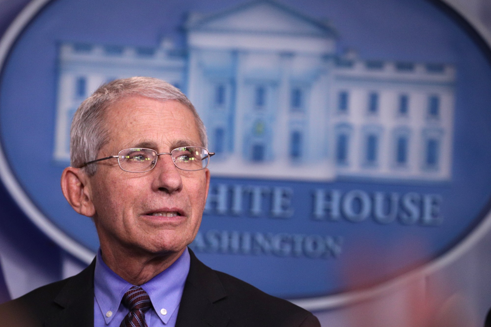 National Institute of Allergy and Infectious Diseases Director Anthony Fauci listens during the daily coronavirus briefing in the Brady Press Briefing Room at the White House on April 09, 2020 in Washington, DC. (Alex Wong/Getty Images)