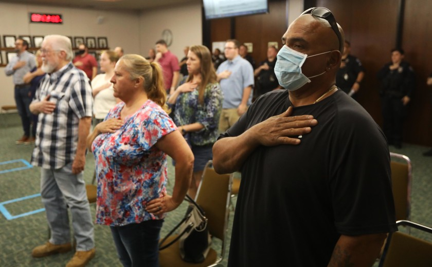 The Pledge of Allegiance at a City Council meeting in Atwater, Calif., on May 26.(Genaro Molina / Los Angeles Times)