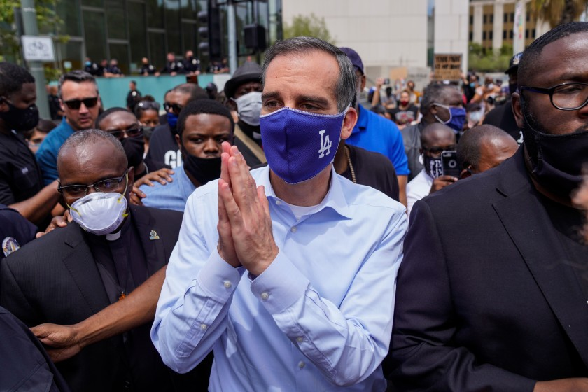 Mayor Eric Garcetti at a protest outside L.A. City Hall on June 2, 2020. (Kent Nishimura / Los Angeles Times)