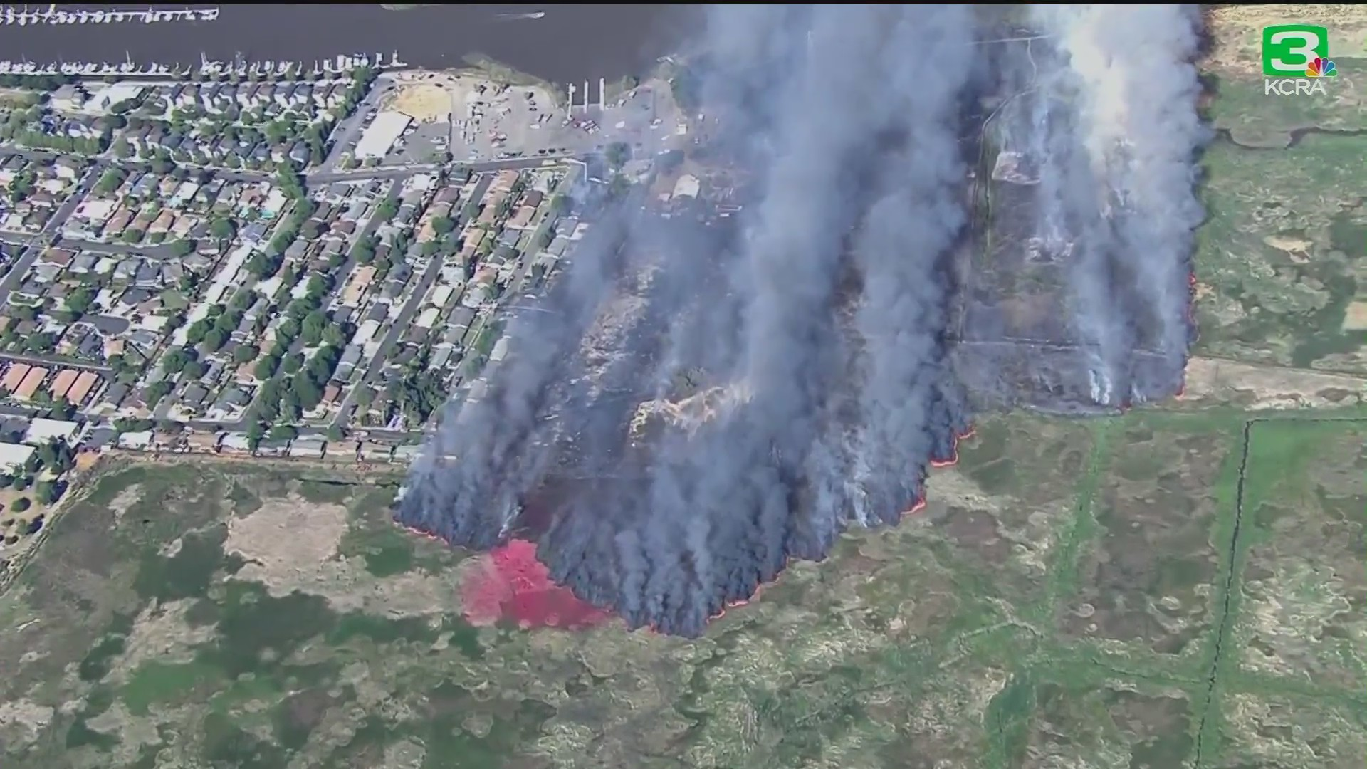 A wildfire burning in Solano County is seen in June 3, 2020. (KCRA via CNN Wire)