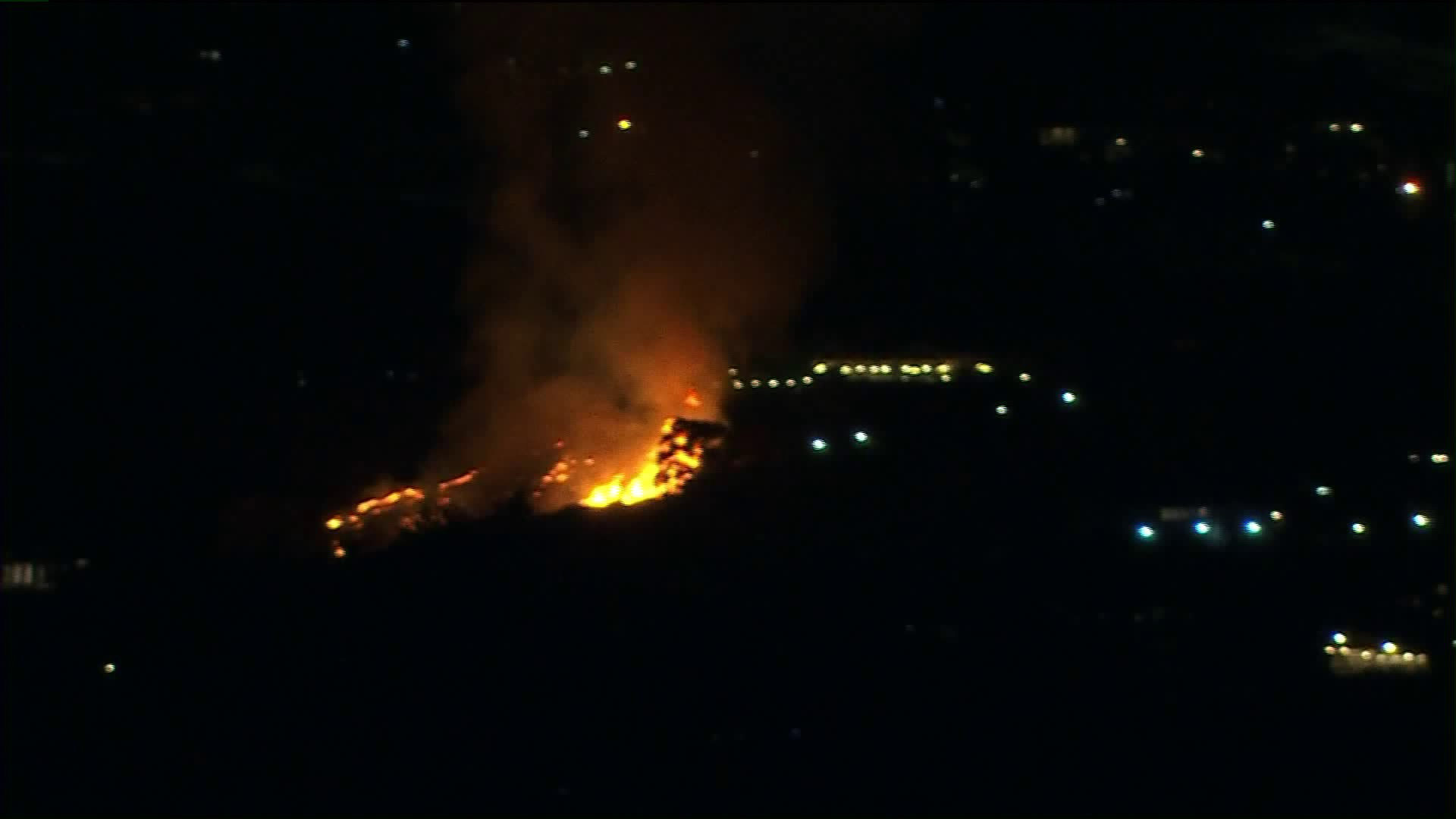 A brush fire was burning in Tarzana on July 3, 2020. (KTLA)