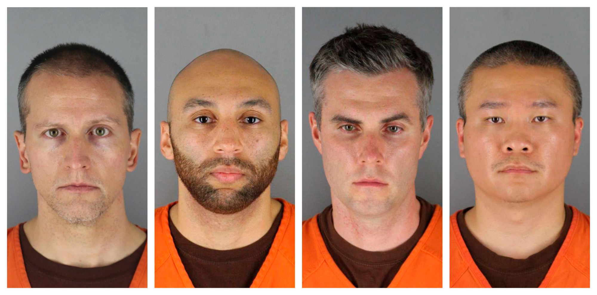 This combination of photos provided by the Hennepin County Sheriff's Office in Minnesota on June 3, 2020, shows Derek Chauvin, from left, J. Alexander Kueng, Thomas Lane and Tou Thao. (File/Associated Press)