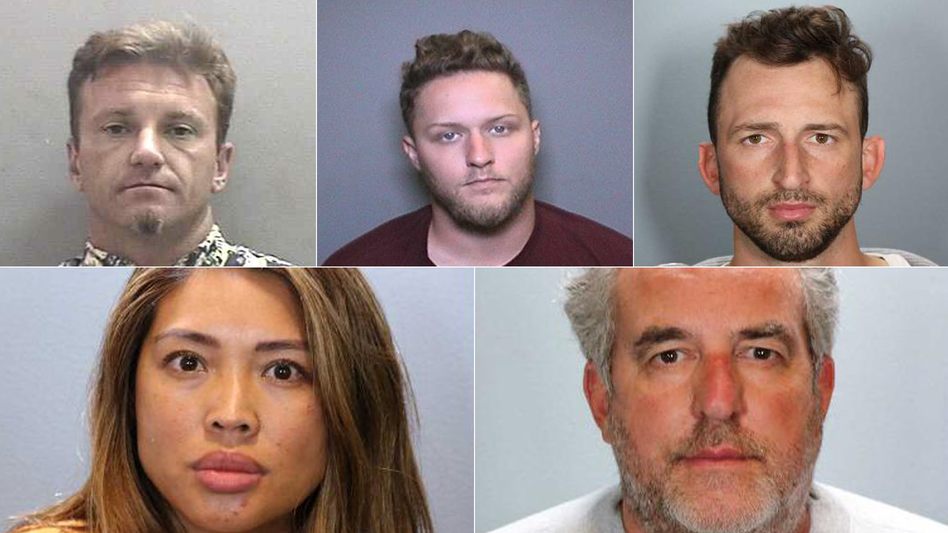 Top left to right: Robert Mellon, Patrick Connolly, Thomas Douglas, Liza Vismanos and Randy Rosen are shown in photos released by the Orange County District Attorney's Office on July 3, 2020.