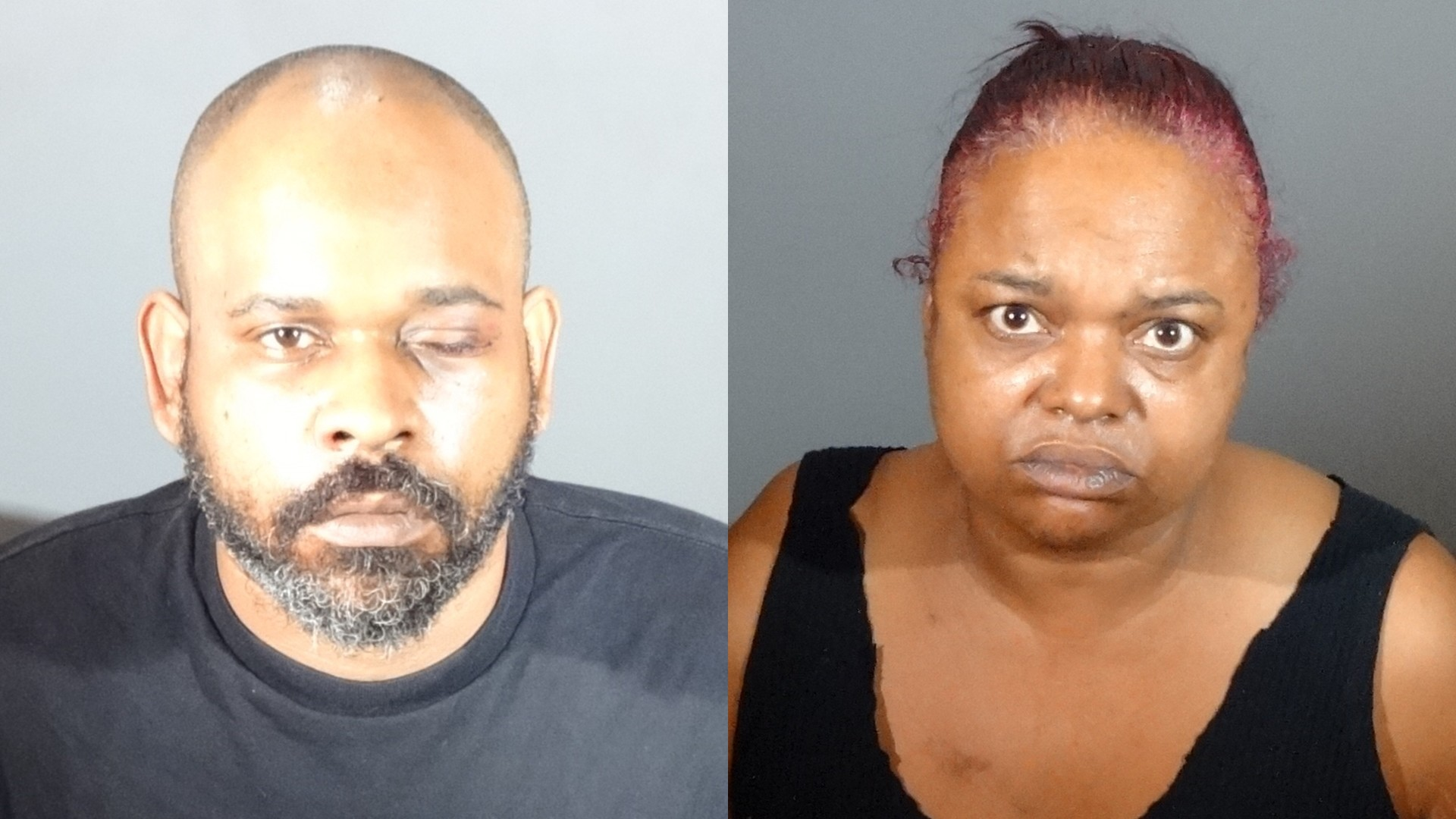 Umeir Hawkins, left, and Sabrina Carter, right, are seen in booking photos released by Gardena police.