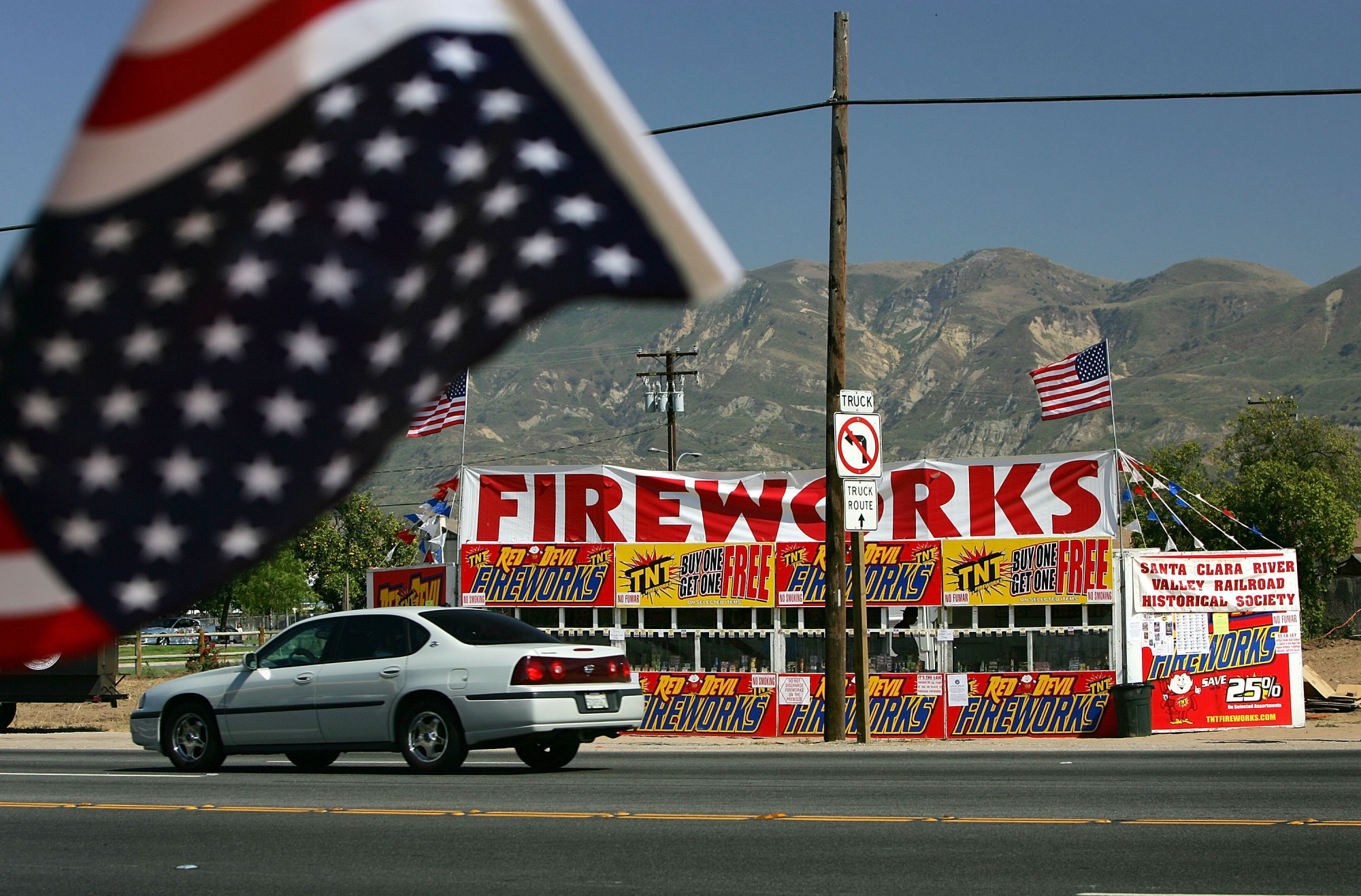 A fireworks stand, one of about 25 booths that are open for business, advertises on the first day of fireworks sales for Fourth of July celebrations June 28, 2005 in Fillmore. (David McNew/Getty Images)