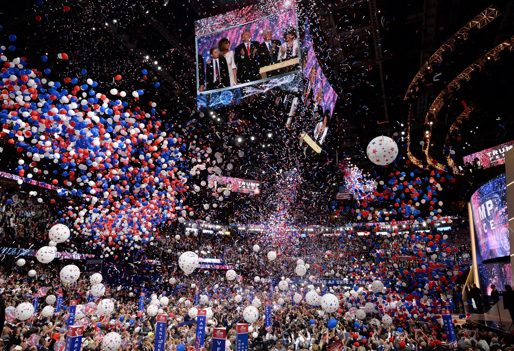 Balloons fall over the crowd as Donald Trump accepts the Republican Party's nomination as presidential candidate, at the end of the Republican National Convention on July 21, 2016. (ROBYN BECK/AFP/Getty Images)