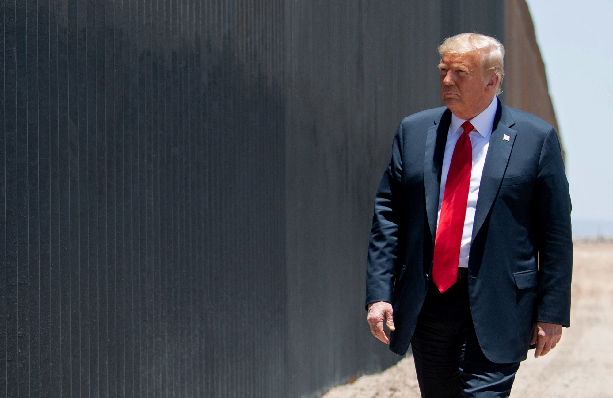 US President Donald Trump participates in a ceremony commemorating the 200th mile of border wall at the international border with Mexico in San Luis, Arizona, June 23, 2020. (Saul Loeb/AFP/Getty Images via CNN Wire)