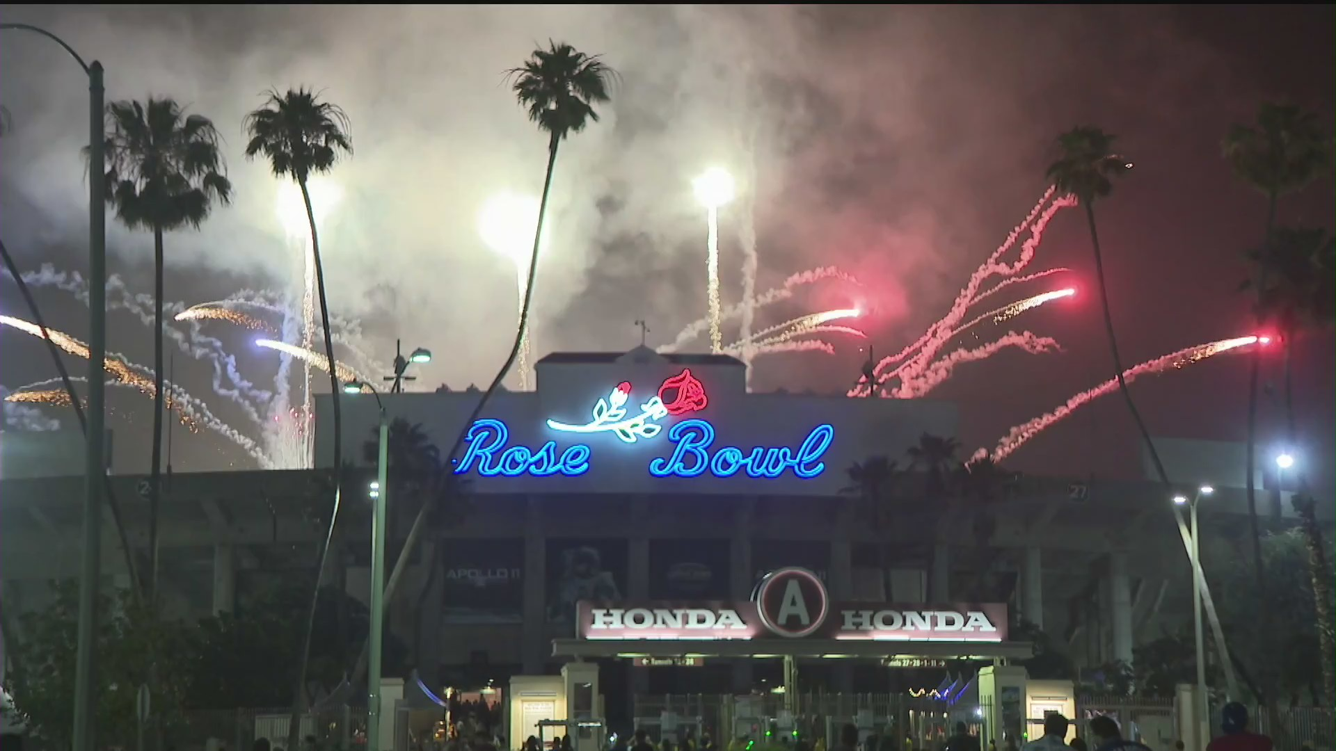 Fireworks from a show at the Rose Bowl is seen in this file photo. (KTLA)