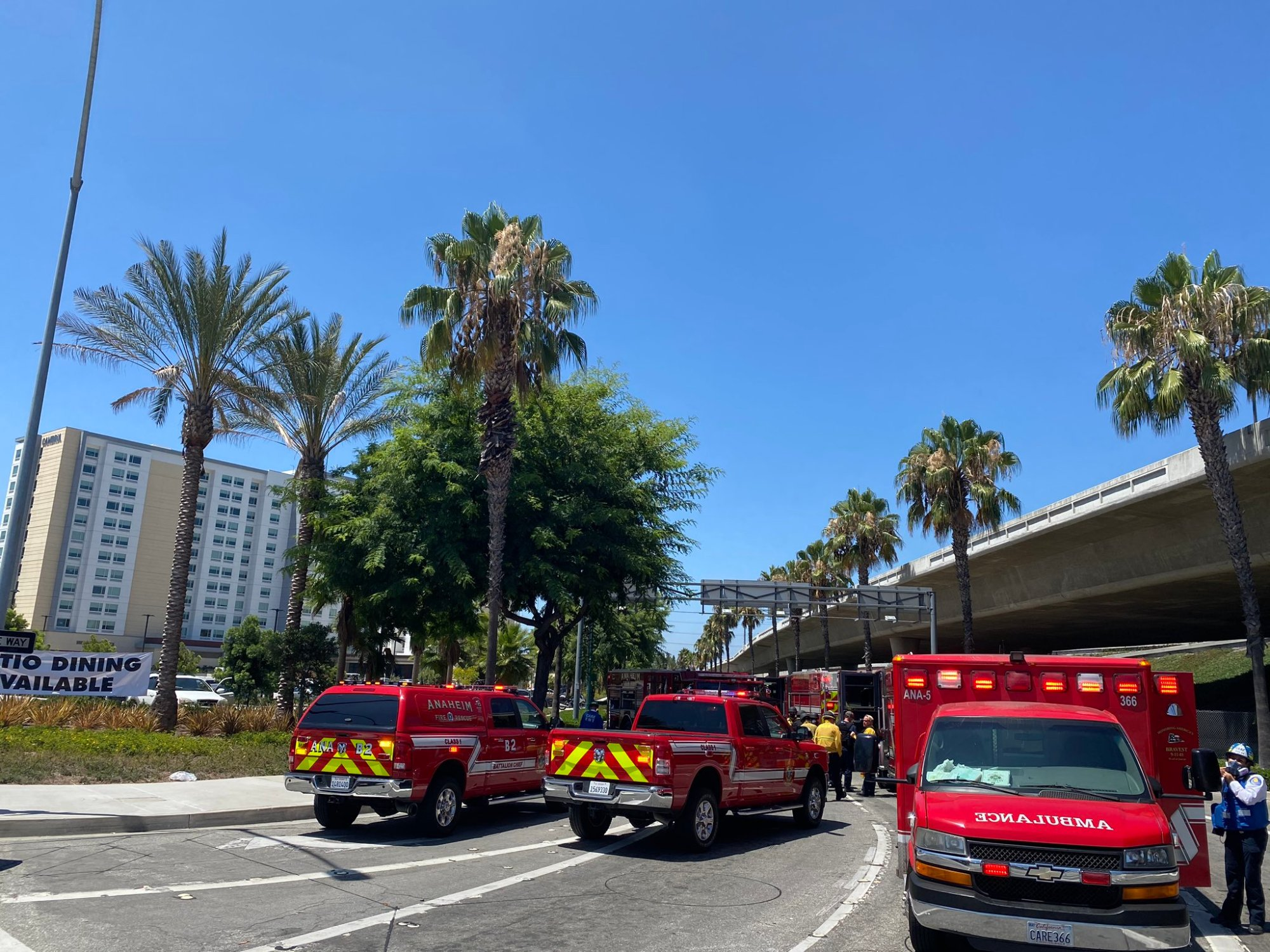 Police responded to a hotel in the 100 block of E. Katella for a large brawl involving 60 to 100 people on Aug. 5, 2020. (Anaheim Police Department)