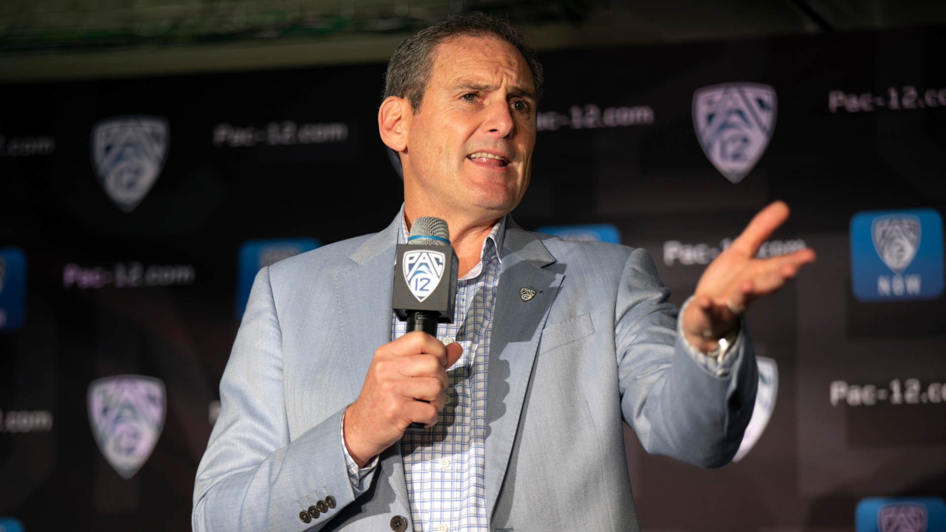 Commissioner Larry Scott speaks during the Pac-12 NCAA college basketball media day in San Francisco on Oct. 8, 2019. (D. Ross Cameron / Associated Press)