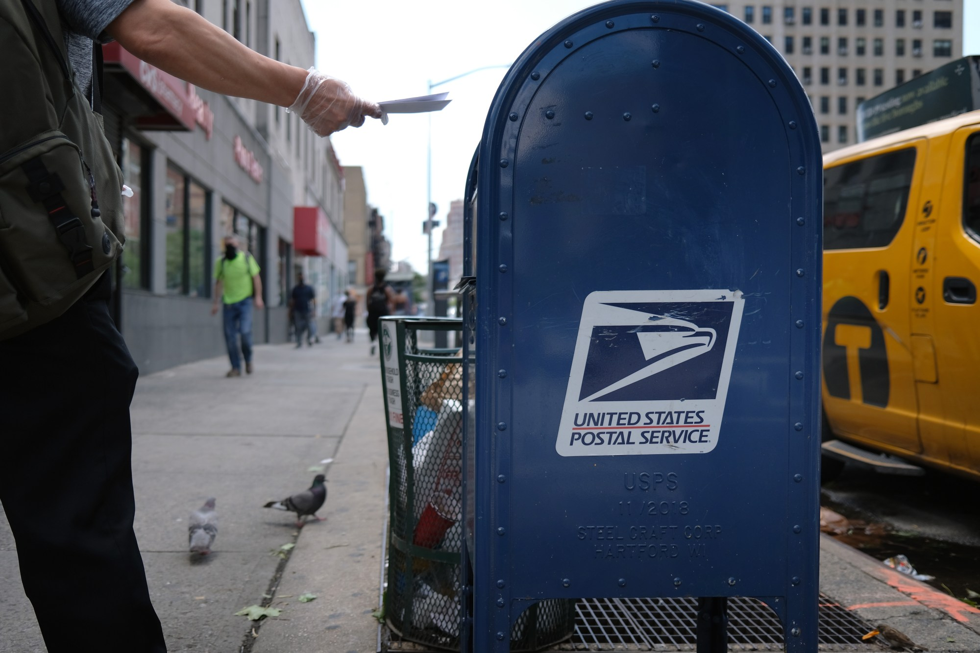 A U.S. Postal Service (USPS) mail box stands in Manhattan on August 5, 2020 in New York City. (Spencer Platt/Getty Images)