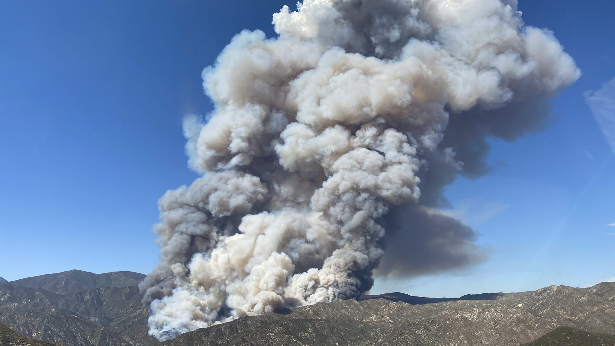 The Lake Fire is shown in a photo tweeted by the Los Angeles County aerial unit on Aug. 12, 2020.