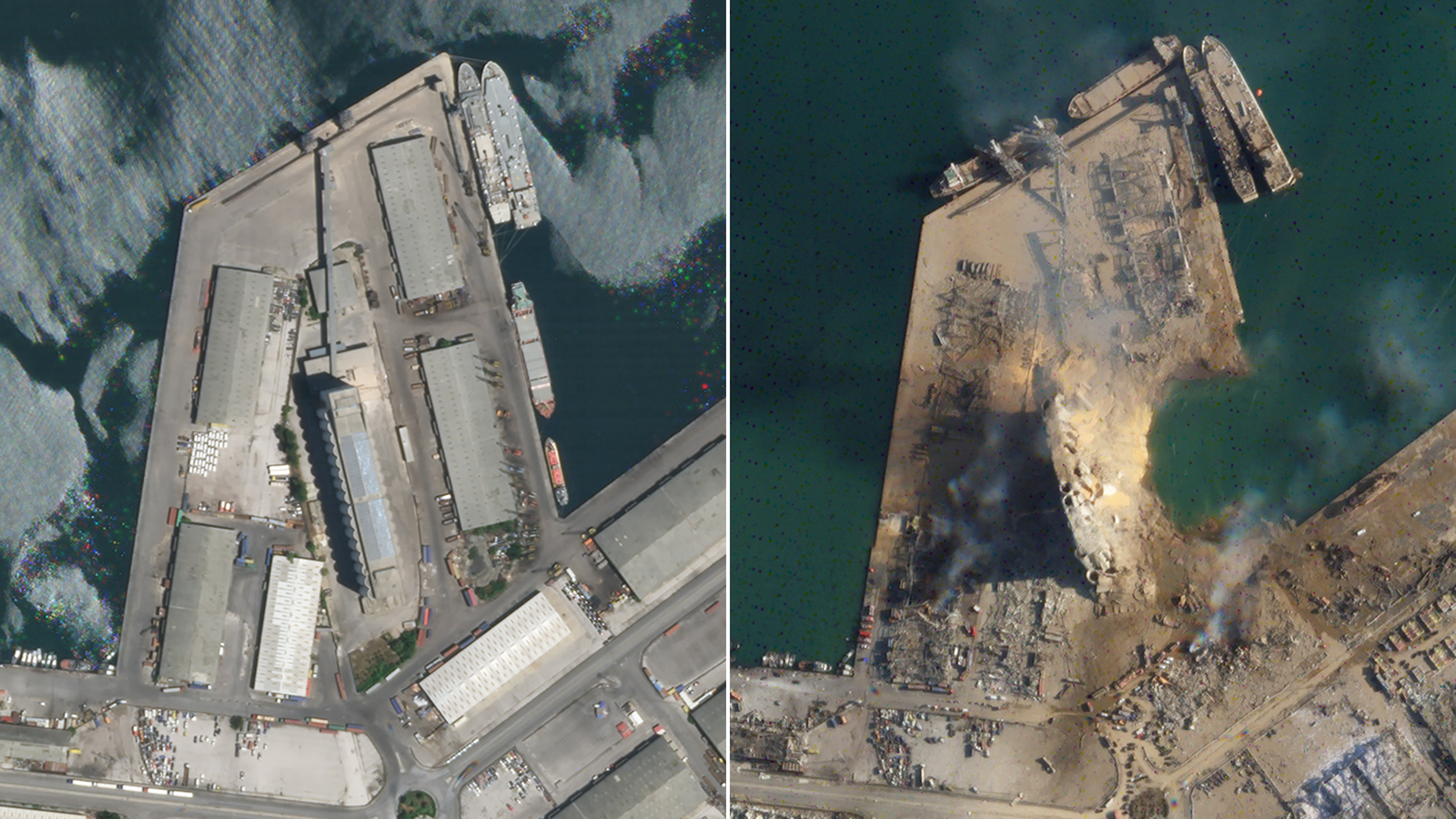 The port before the explosion, left, and after, right. (Planet Labs, Inc.)