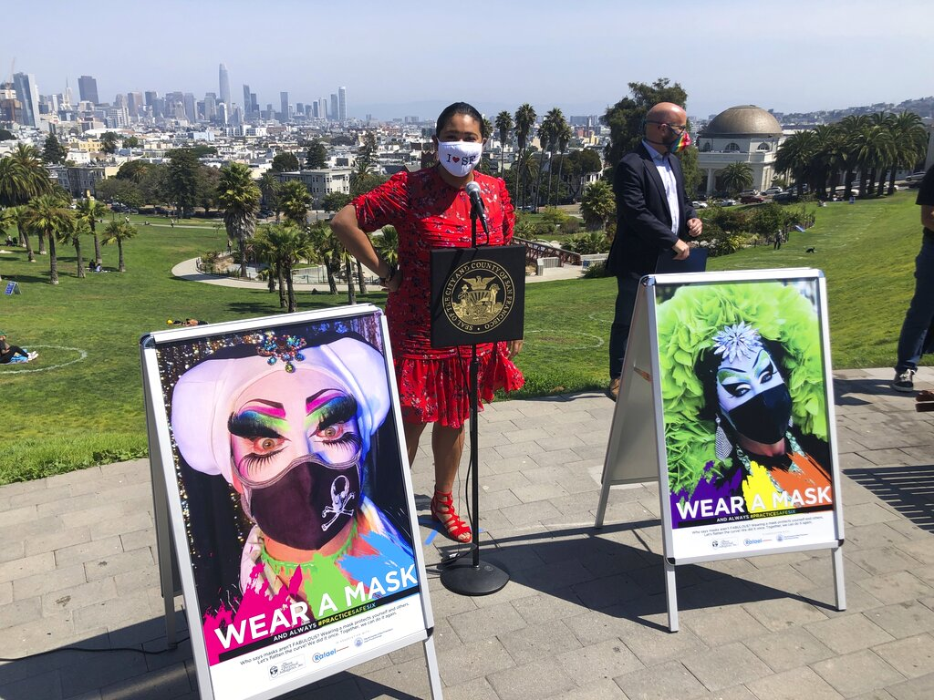 San Francisco Mayor London Breed speaks during a news conference Friday, Sept. 4, 2020, at the city's popular Dolores Park. (AP Photo/Haven Daley)