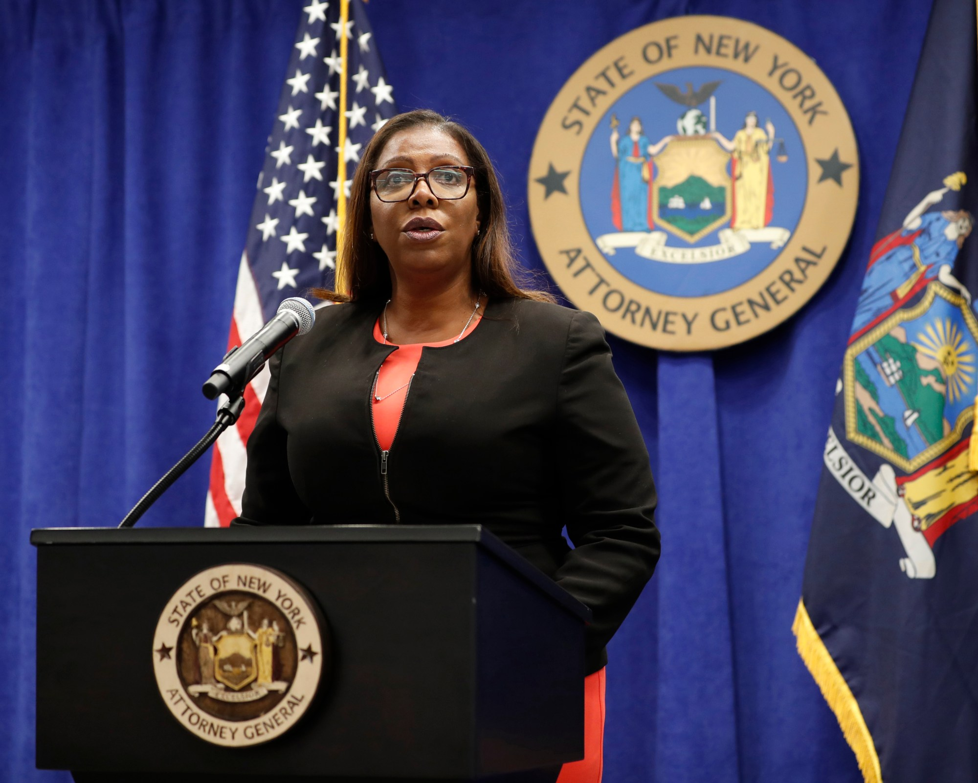In this Aug. 6, 2020 file photo, New York State Attorney General Letitia James addresses the media during a news conference in New York. On Sept. 25, 2020, James recommended the New York Police Department get out of the business of routine traffic enforcement, a radical change that she said would prevent encounters like one the year before in the Bronx borough of New York that escalated quickly and ended with an officer fatally shooting a motorist. (AP Photo/Kathy Willens, File)