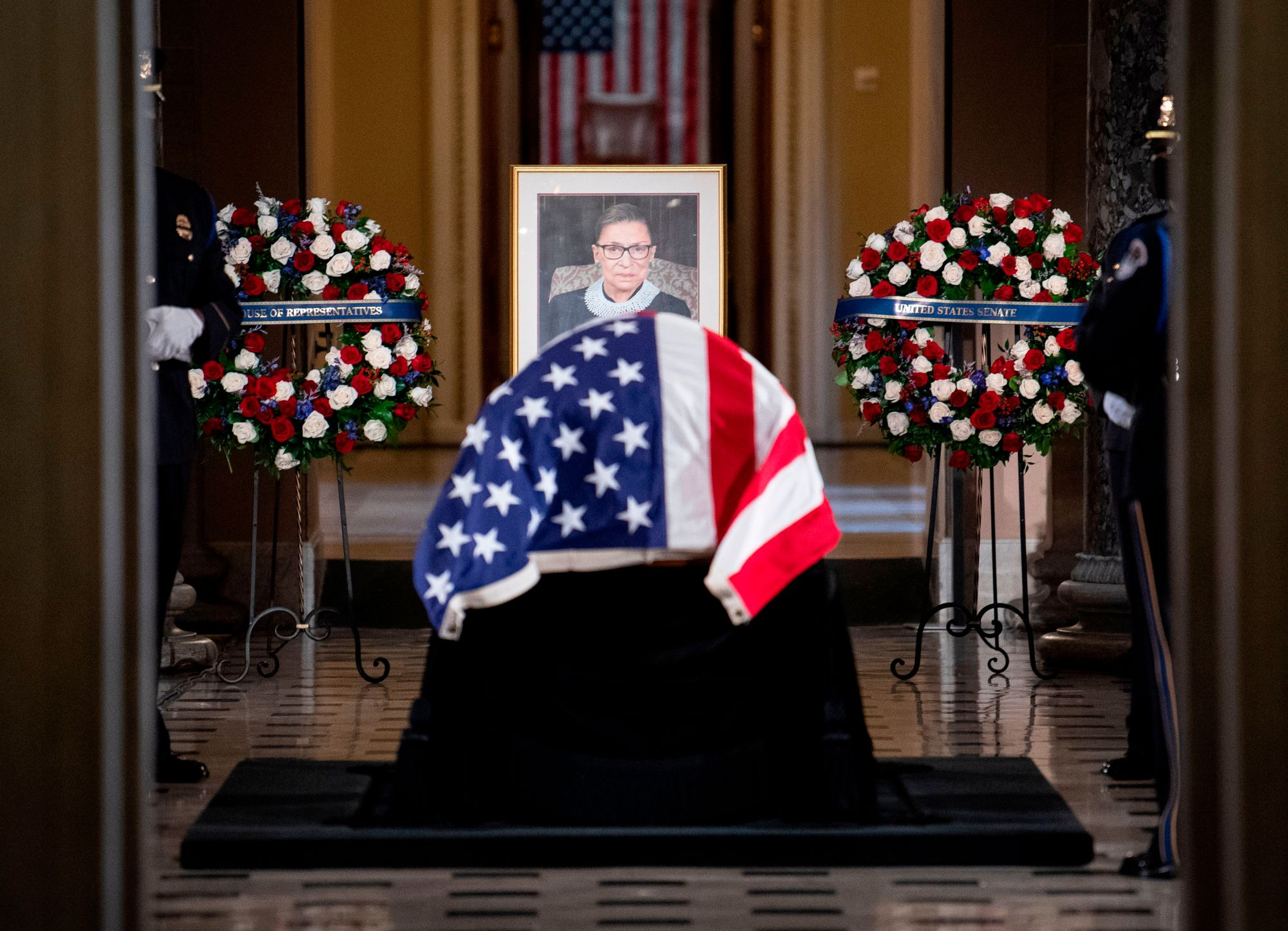 The remains of US Supreme Court Justice Ruth Bader Ginsburg lie in state at the US Capitol in Washington, DC, on September 25, 2020. (CAROLINE BREHMAN/POOL/AFP via Getty Images)
