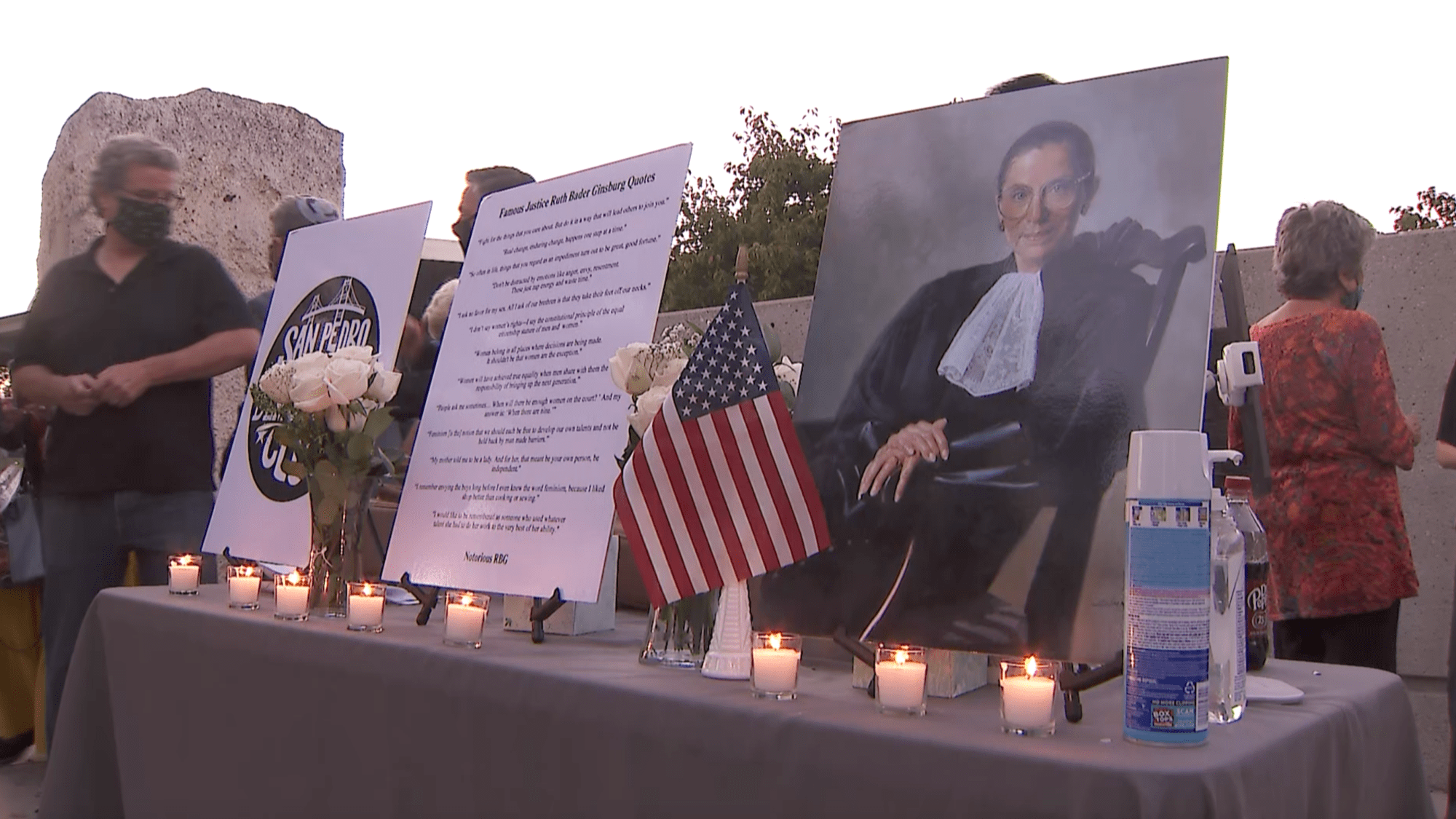 Justice Ruth Bader Ginsburg is honored in a candlelight vigil in San Pedro on Sept. 22, 2020. (KTLA)
