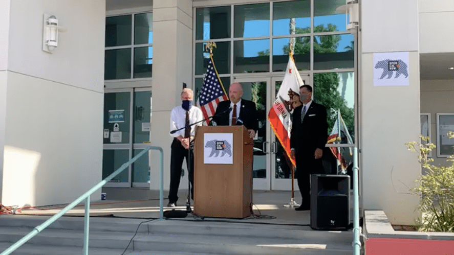 Riverside County Supervisor Jeff Hewitt speaks at a news conference in Riverside on Sept. 28, 2020 during which officials pushed for the reopening of the state during the pandemic. (Jeff Hewitt/Facebook)