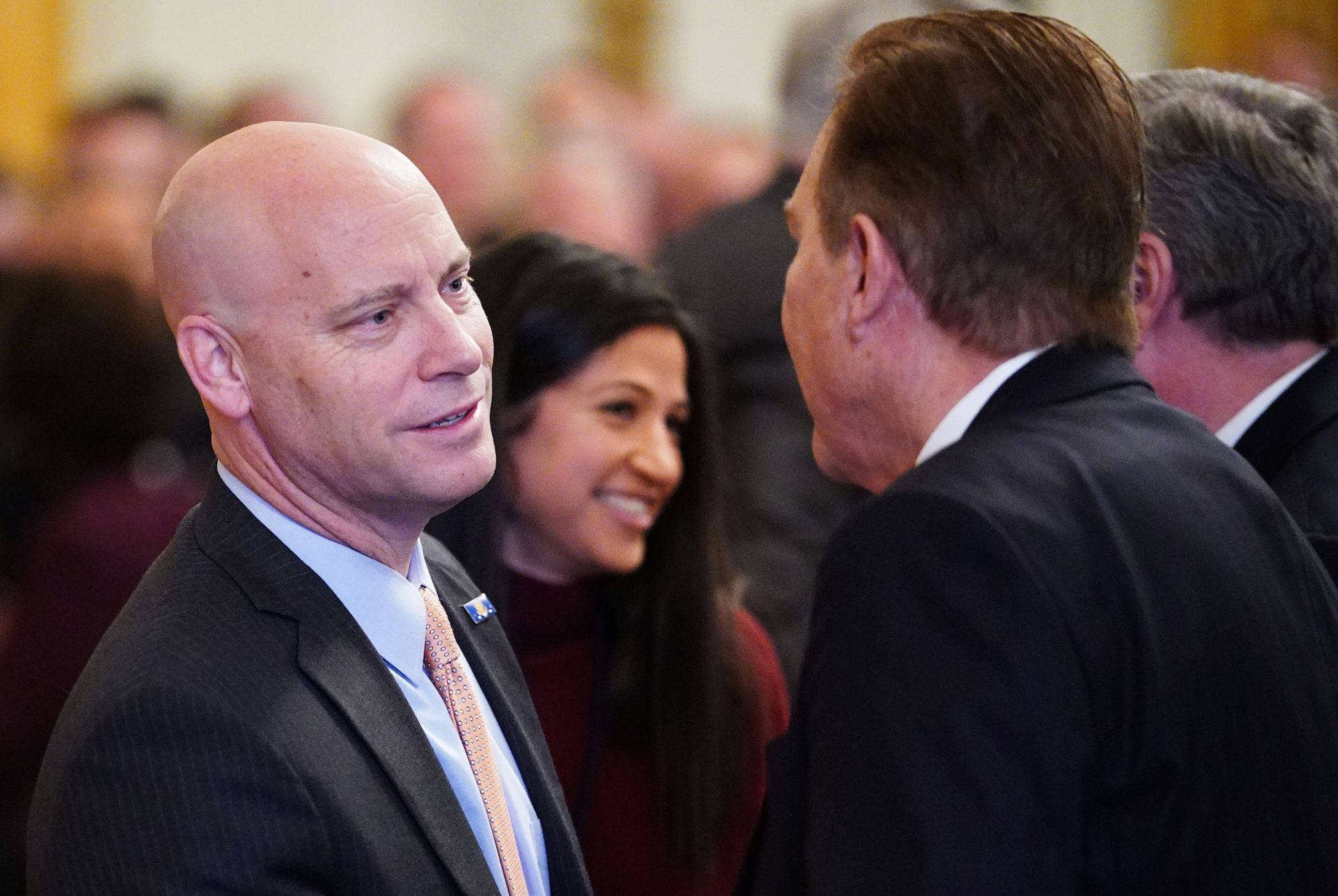 Chief of Staff to the Vice President Marc Short (L) is seen before the signing of a trade agreement between the U.S. and China during a ceremony in the East Room of the White House in Washington, D.C. on Jan. 15, 2020. (MANDEL NGAN / AFP via Getty Images)