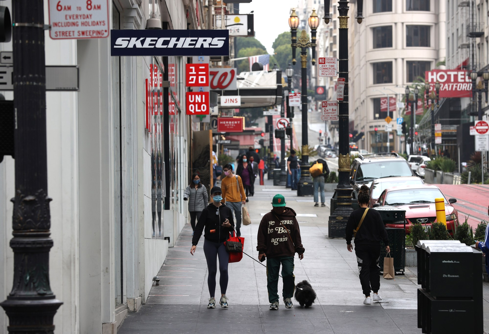 People walk through San Francisco's Union Square shopping district on Sept. 3, 2020. (Justin Sullivan/Getty Images)